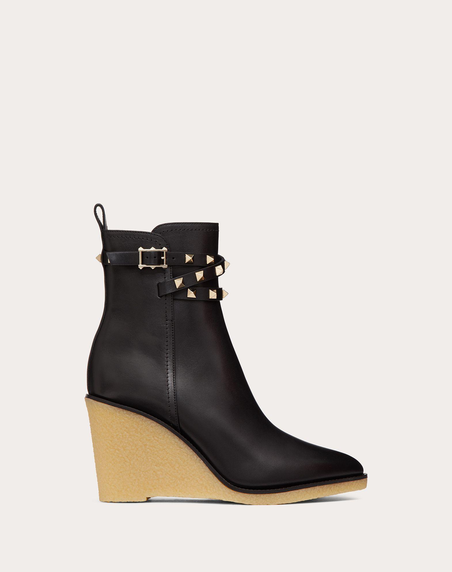 Valentino High heels VALENTINO GARAVANI ROCKSTUD CALFSKIN WEDGE ANKLE BOOT 90 MM