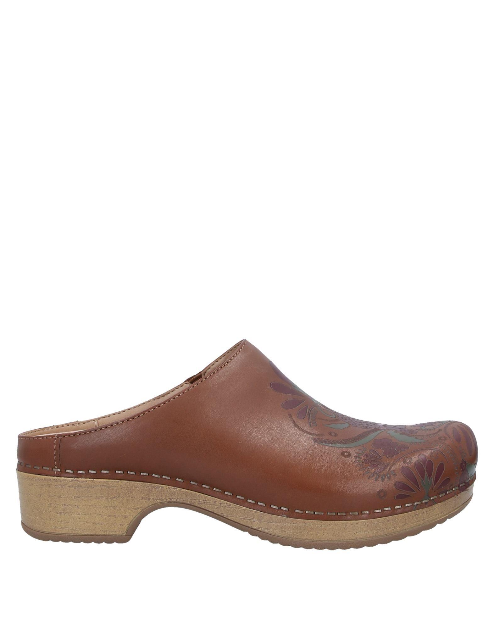 DANSKO Mules. leather, no appliqués, floral design, round toeline, stiletto heel, leather lining, rubber sole, contains non-textile parts of animal origin. Soft Leather