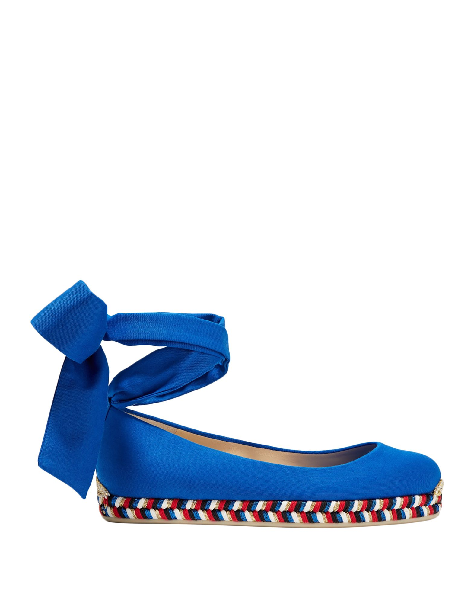 CHRISTIAN LOUBOUTIN Ballet flats. plain weave, laces, solid color, wrapping straps closure, round toeline, flat, leather lining, rubber cleated sole, contains non-textile parts of animal origin, small sized. Textile fibers