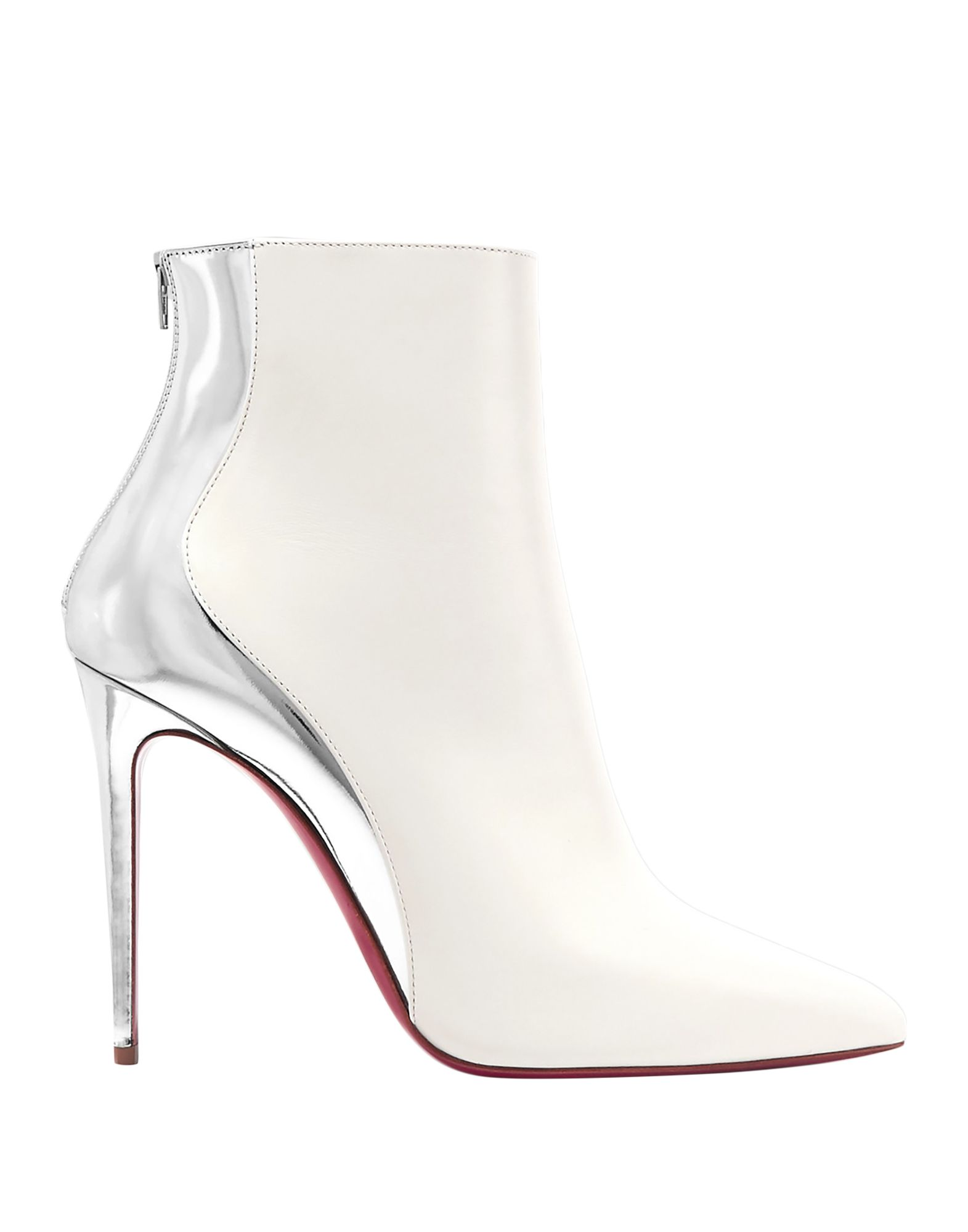 CHRISTIAN LOUBOUTIN Ankle boots. laminated effect, no appliqués, two-tone, zipper closure, narrow toeline, spike heel, covered heel, leather lining, leather/rubber sole, contains non-textile parts of animal origin, small sized. Calfskin