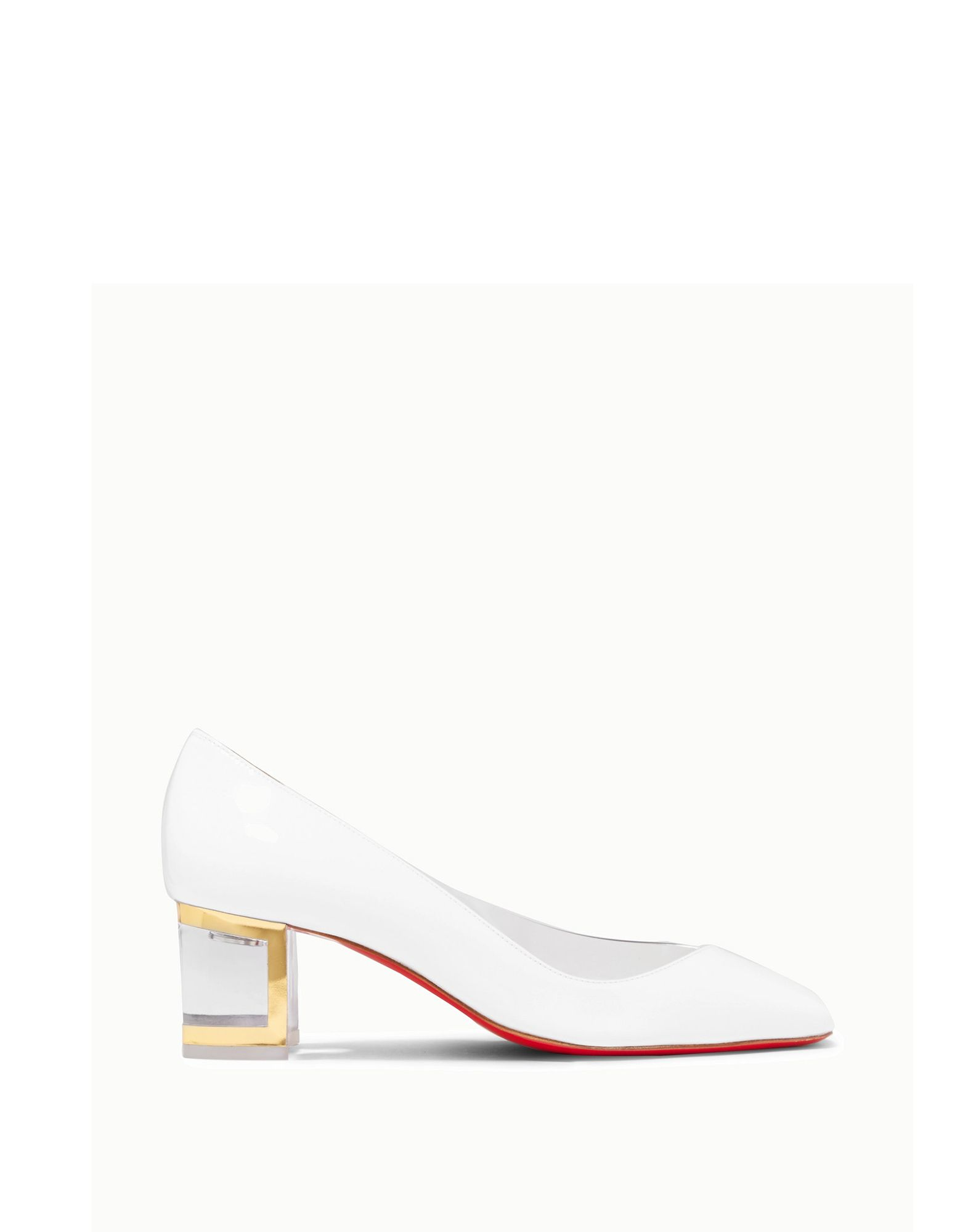 CHRISTIAN LOUBOUTIN Pumps. varnished effect, no appliqués, two-tone, square toeline, square heel, acrylic heel, leather lining, leather sole, contains non-textile parts of animal origin, small sized. Soft Leather, PVC - Polyvinyl chloride