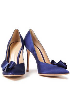 Gianvito Rossi Kyoto 105 Bow-embellished Silk-satin Pumps In Royal Blue