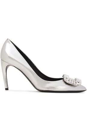 ROGER VIVIER Buckle-embellished mirrored-leather pumps