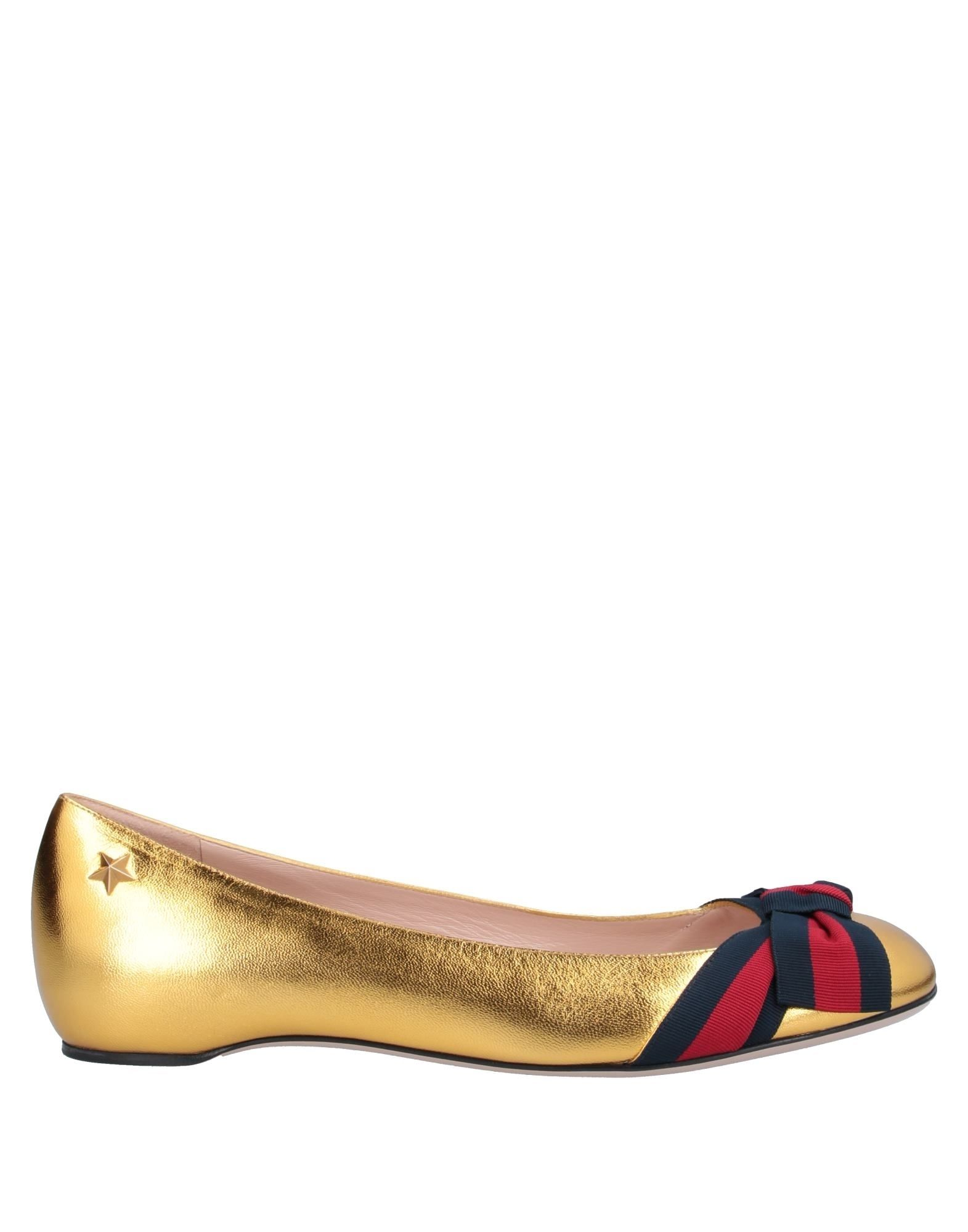 GUCCI Ballet flats. laminated effect, logo, solid color, nappa leather, round toeline, flat, leather lining, leather sole, contains non-textile parts of animal origin. Soft Leather