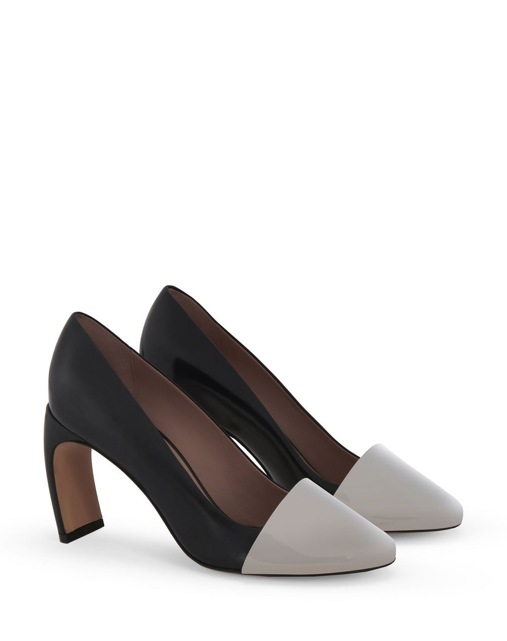 LEATHER J COURT SHOES WITH METALLIC TOE - Lanvin
