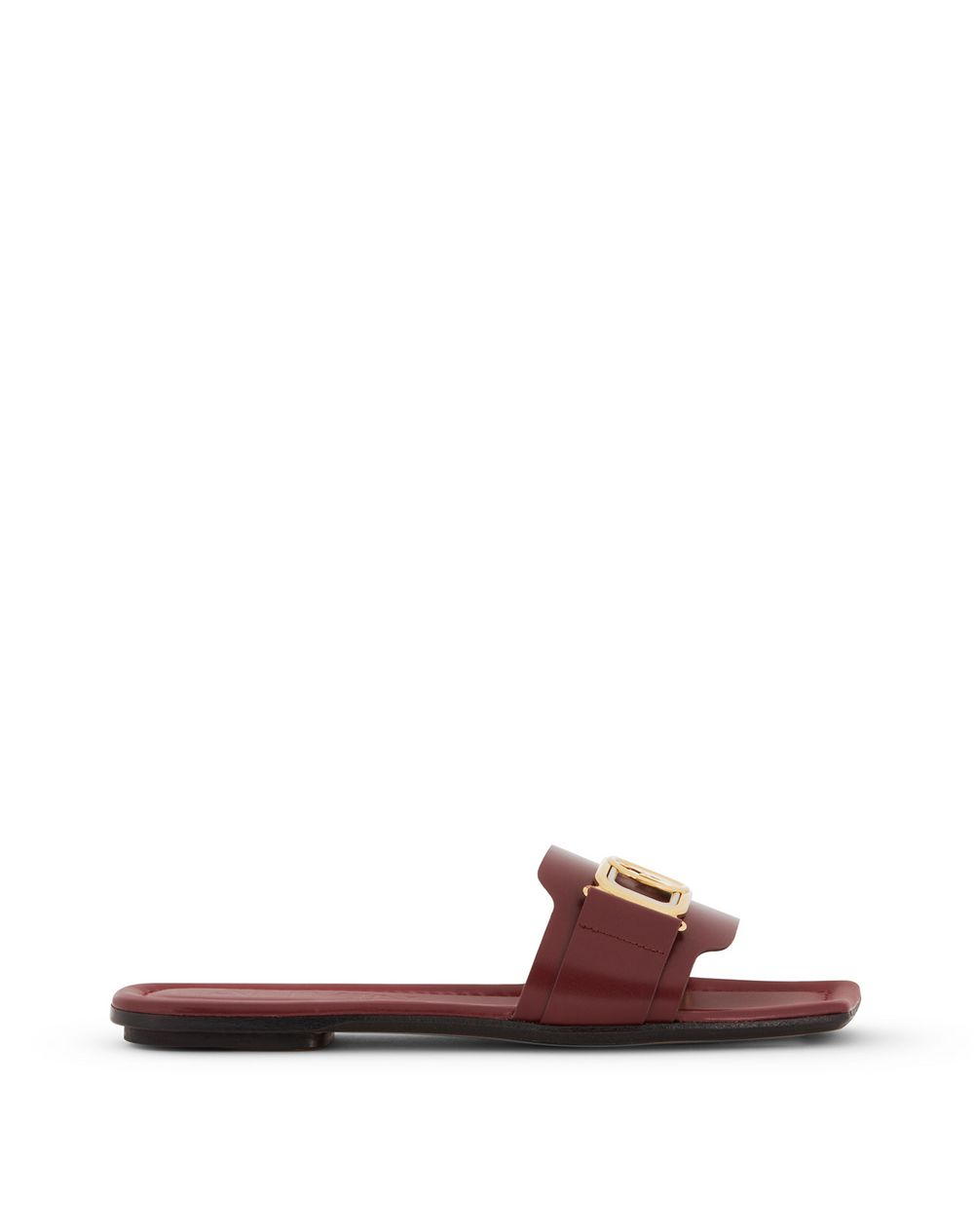 LEATHER FLAT SWAN MULES - Lanvin