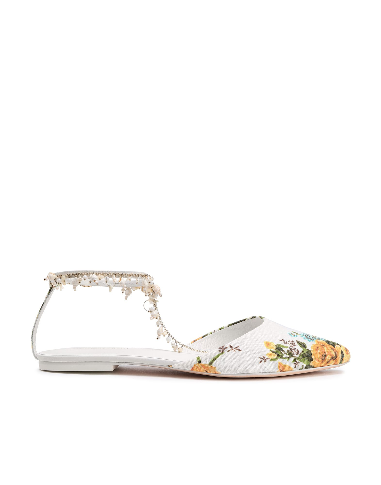 ZIMMERMANN Mules. contrasting applications, floral design, buckling ankle strap closure, narrow toeline, flat, leather lining, leather/rubber sole, contains non-textile parts of animal origin. Textile fibers, Soft Leather