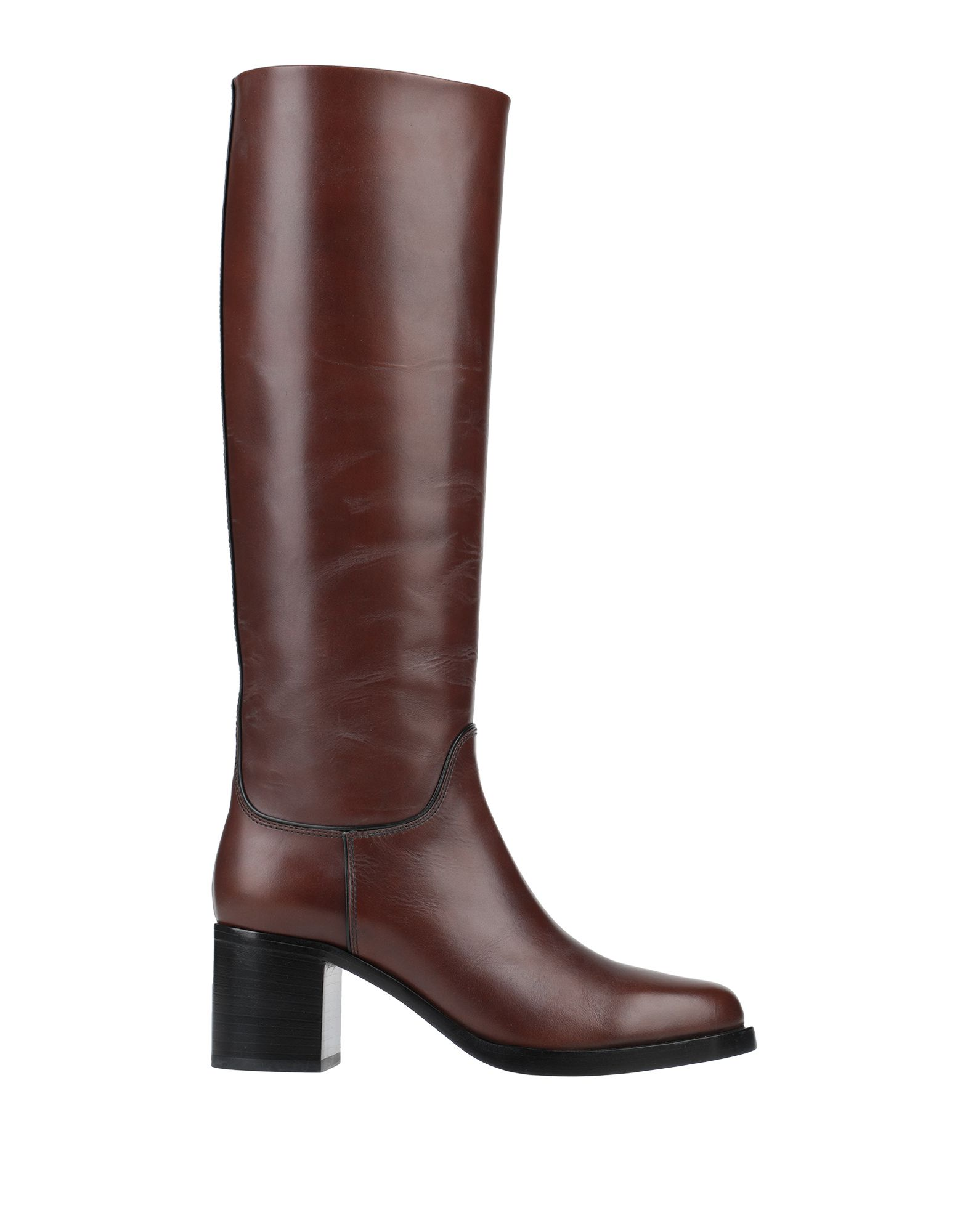 GIORGIO ARMANI Boots. polished leather, no appliqués, solid color, round toeline, square heel, leather lining, leather/rubber sole, contains non-textile parts of animal origin. Soft Leather