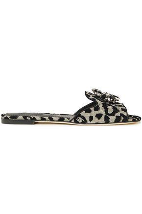 DOLCE & GABBANA Crystal-embellished metallic leopard-jacquard slides