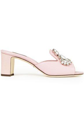 DOLCE & GABBANA حذاء ميول من الجلد بنمط السحلية مزين بالكريستال