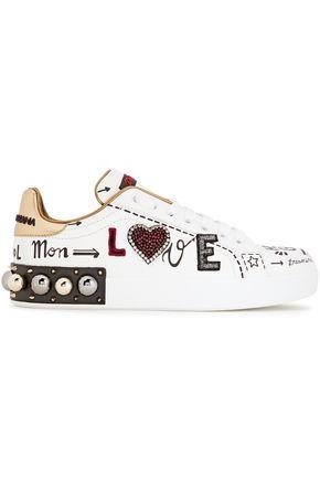 DOLCE & GABBANA حذاء سنيكرز من الجلد المطبع برسومات والمزين