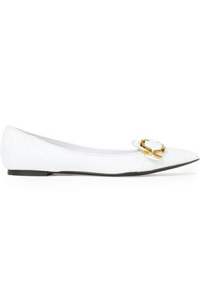 DOLCE & GABBANA Embellished quilted leather point-toe flats