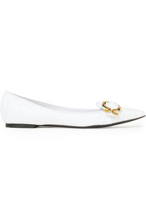 DOLCE & GABBANA حذاء مسطّح ذو مقدّمة مدببة من الجلد المبطّن والمزين