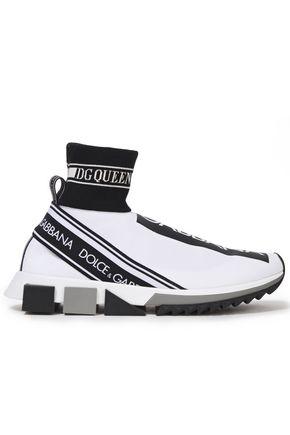 DOLCE & GABBANA Monogram-trimmed stretch-knit slip-on sneakers