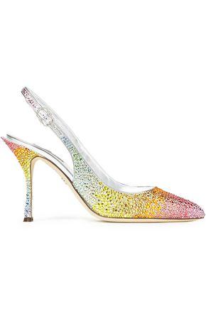 DOLCE & GABBANA حذاء بمب مع حزام كاحل من الساتان بلون متلاشٍ مزين بالكريستال