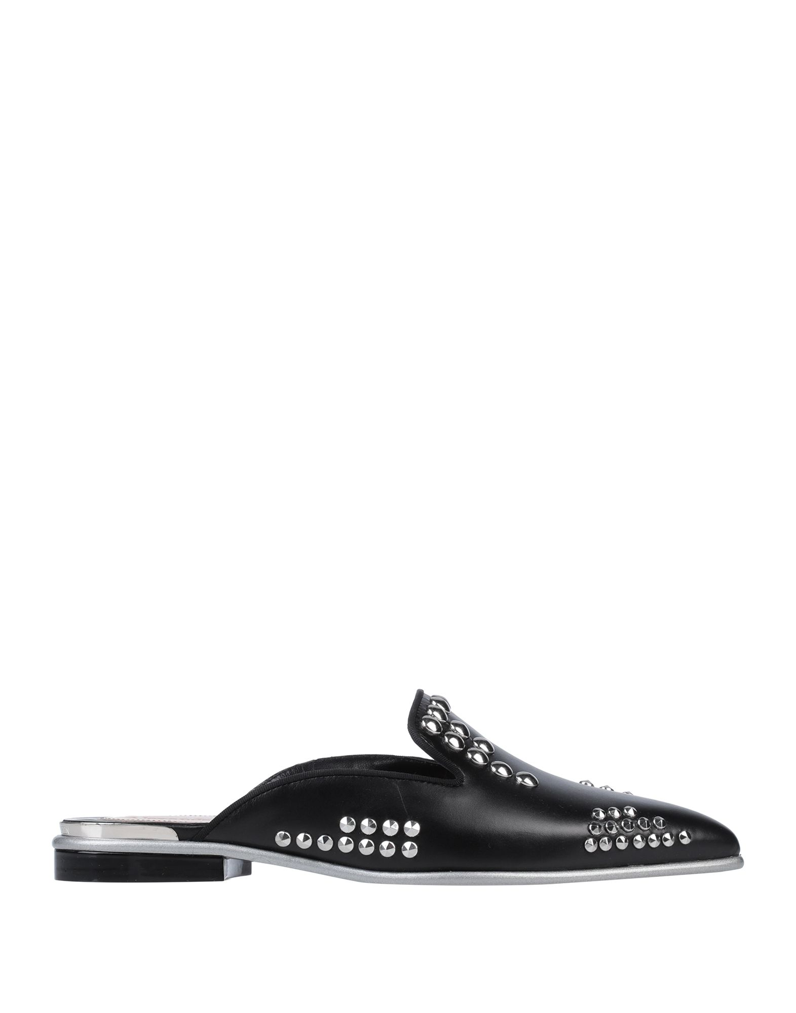 ALEXANDER MCQUEEN Mules. leather, metal applications, solid color, narrow toeline, flat, leather lining, leather/rubber sole, contains non-textile parts of animal origin. Soft Leather