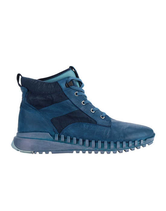 STONE ISLAND S0796 GARMENT DYED LEATHER EXOSTRIKE BOOT WITH DYNEEMA® SHOE Homme Pervenche