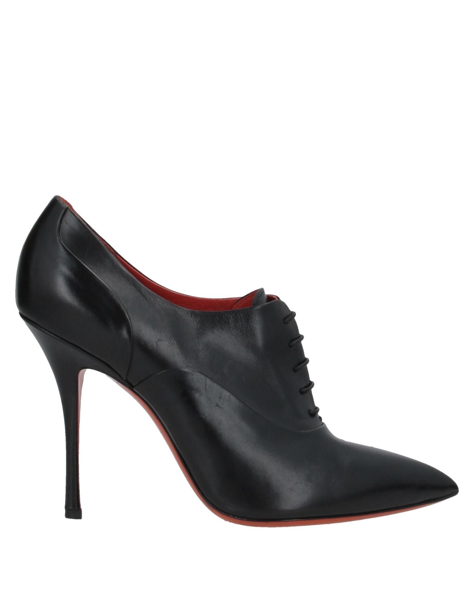 SANTONI Booties. leather, no appliqués, solid color, laces, narrow toeline, spike heel, covered heel, leather lining, leather/rubber sole, contains non-textile parts of animal origin, large sized. Soft Leather