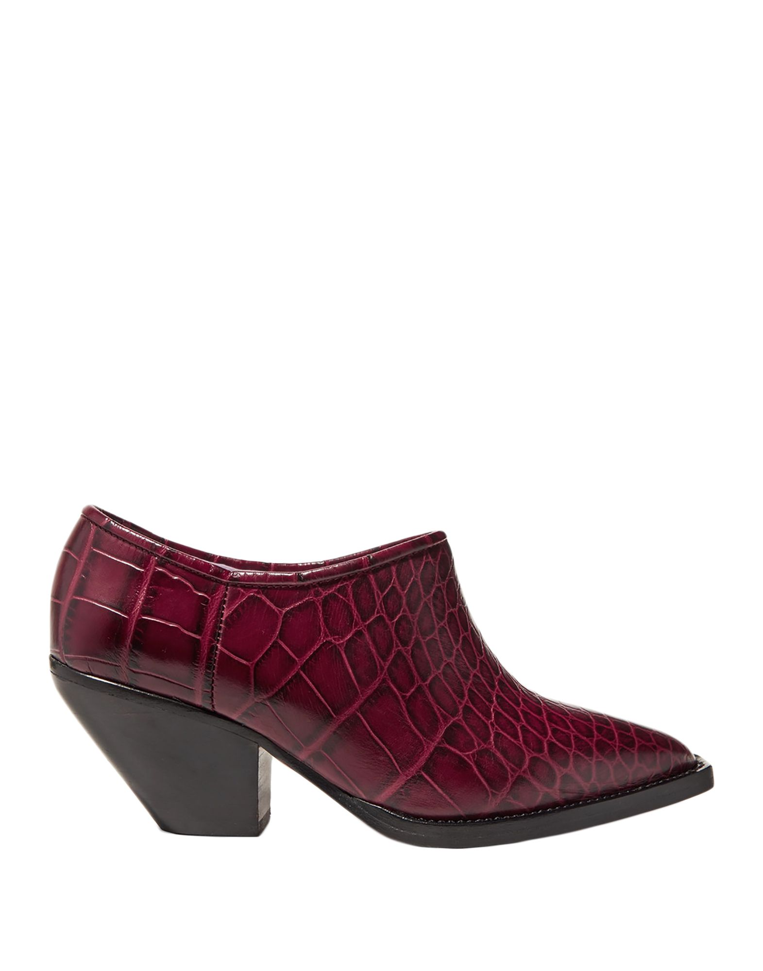 GANNI Booties. leather, crocodile print, no appliqués, solid color, narrow toeline, square heel, leather lining, leather sole, contains non-textile parts of animal origin, small sized. Soft Leather