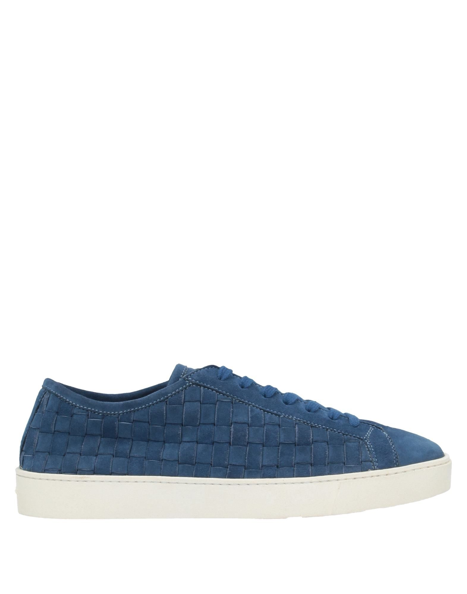 SANTONI Sneakers. leather, suede effect, no appliqués, solid color, laces, round toeline, flat, leather lining, rubber cleated sole, contains non-textile parts of animal origin, large sized. Soft Leather