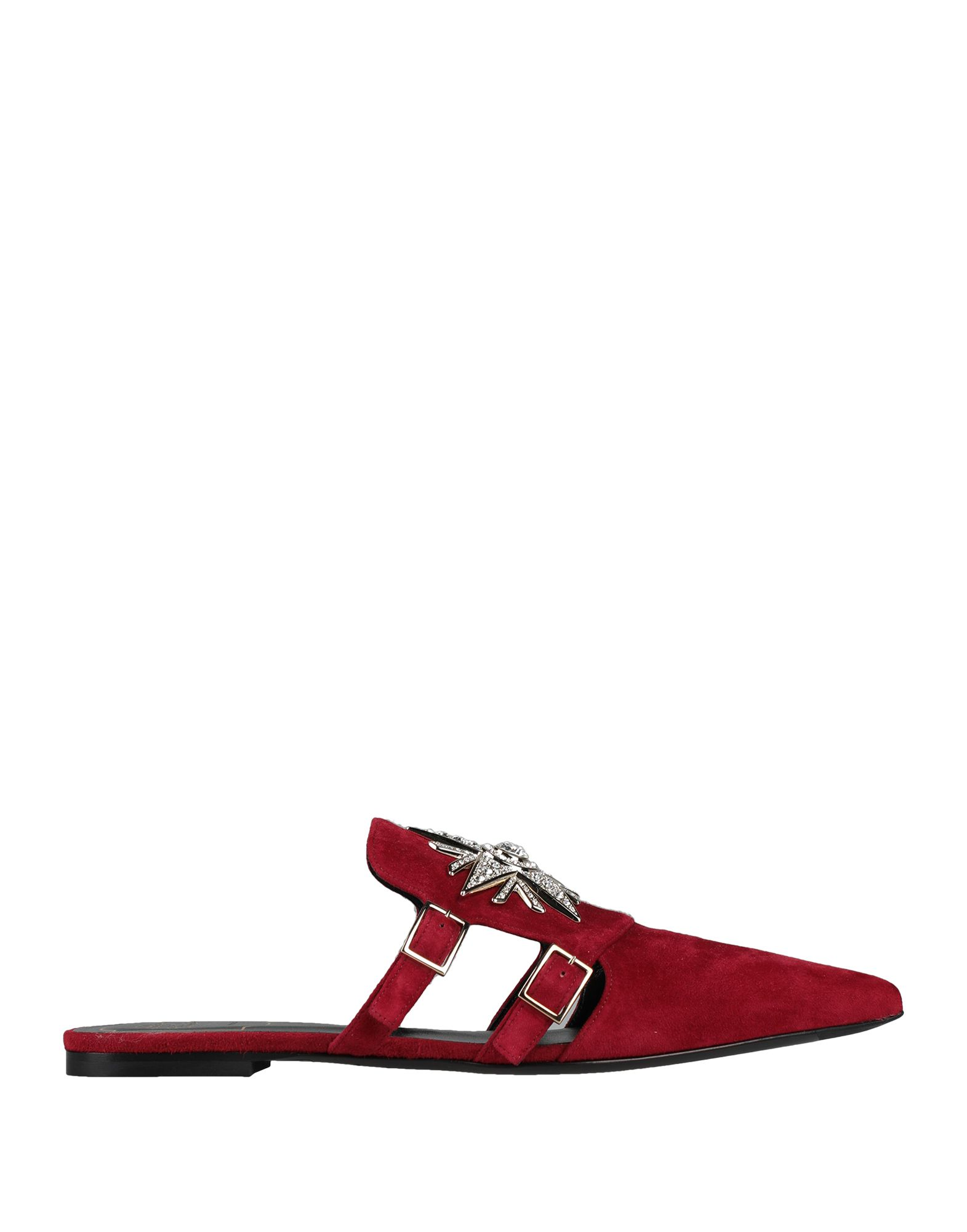ROGER VIVIER Mules. leather, suede effect, buckle, rhinestones, solid color, narrow toeline, flat, leather lining, leather sole, contains non-textile parts of animal origin. Soft Leather