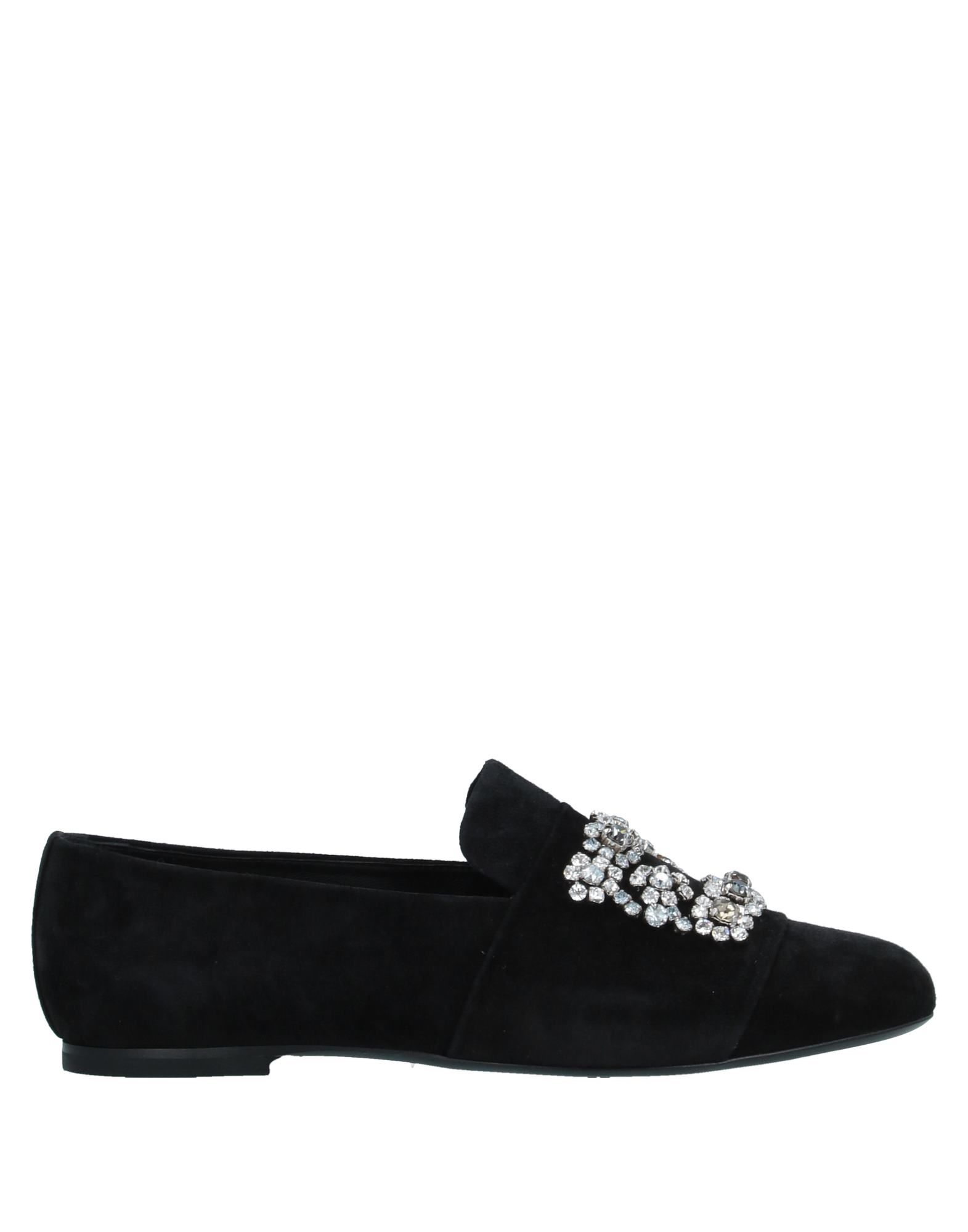 ROGER VIVIER Loafers. leather, suede effect, rhinestones, solid color, round toeline, flat, leather lining, leather sole, contains non-textile parts of animal origin. Soft Leather