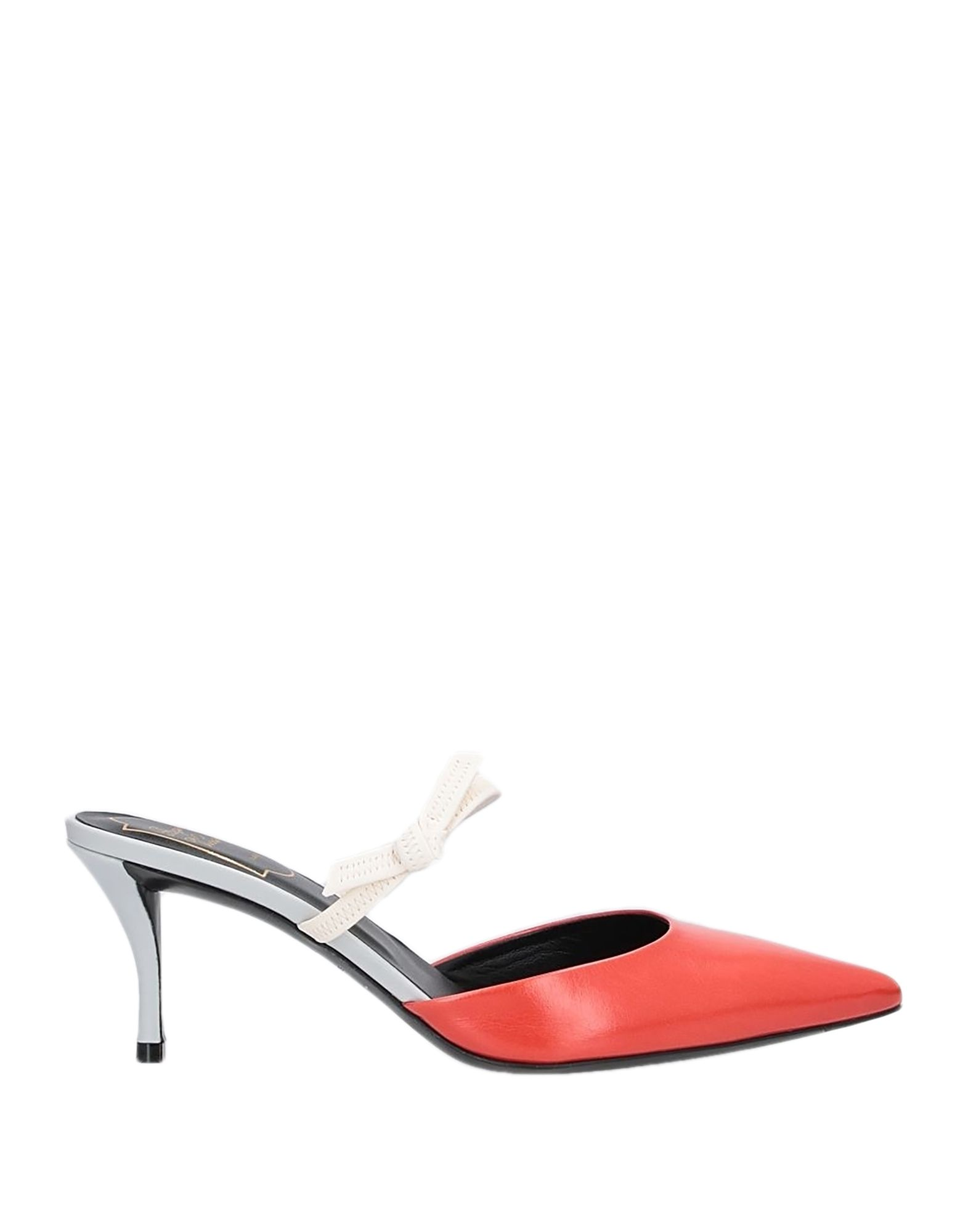 ROGER VIVIER Mules. leather, no appliqués, two-tone, narrow toeline, spike heel, covered heel, leather lining, leather sole, contains non-textile parts of animal origin. Soft Leather