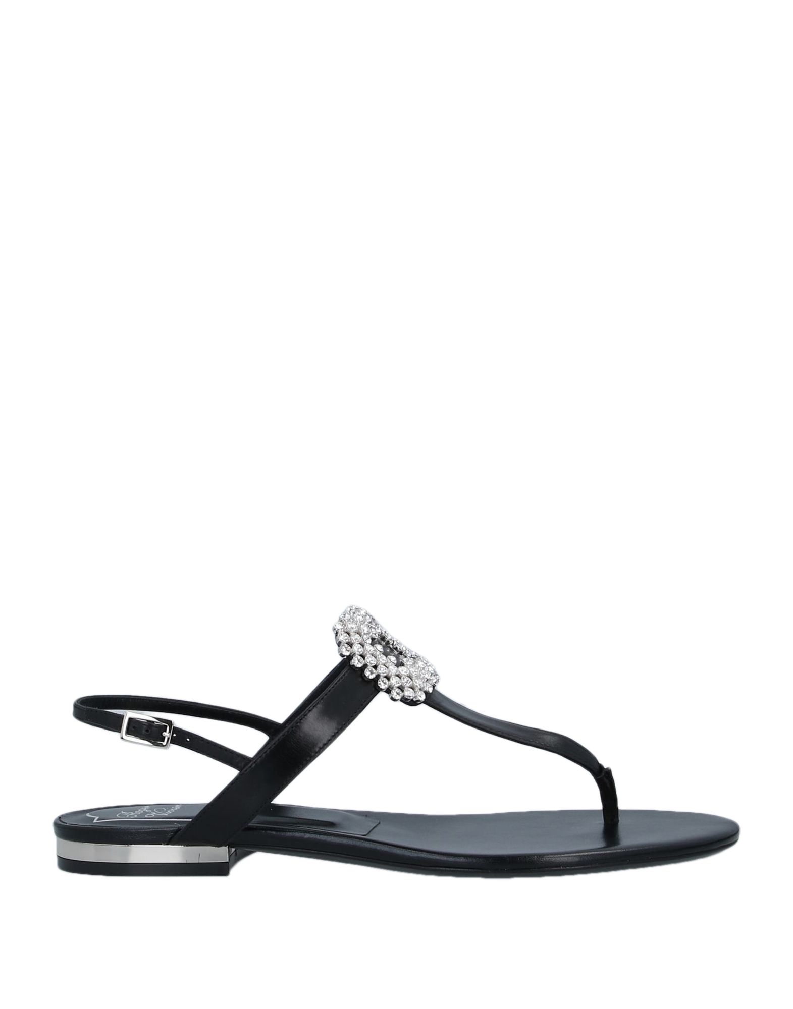 ROGER VIVIER Toe strap sandals. leather, rhinestones, solid color, round toeline, flat, leather lining, leather sole, contains non-textile parts of animal origin. Soft Leather