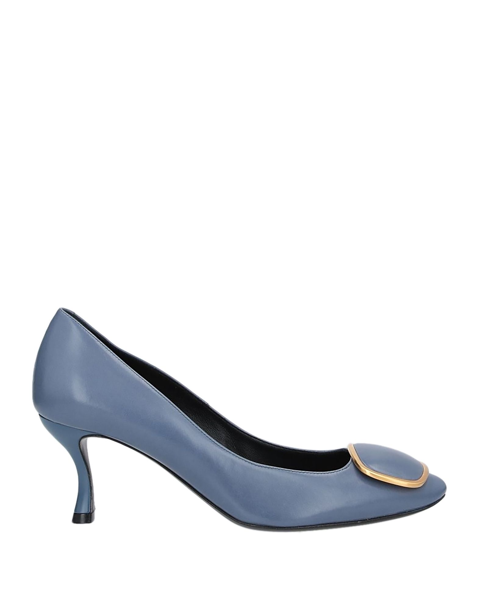 ROGER VIVIER Pumps. leather, metal applications, solid color, round toeline, spool heel, leather lining, leather sole, contains non-textile parts of animal origin. Soft Leather