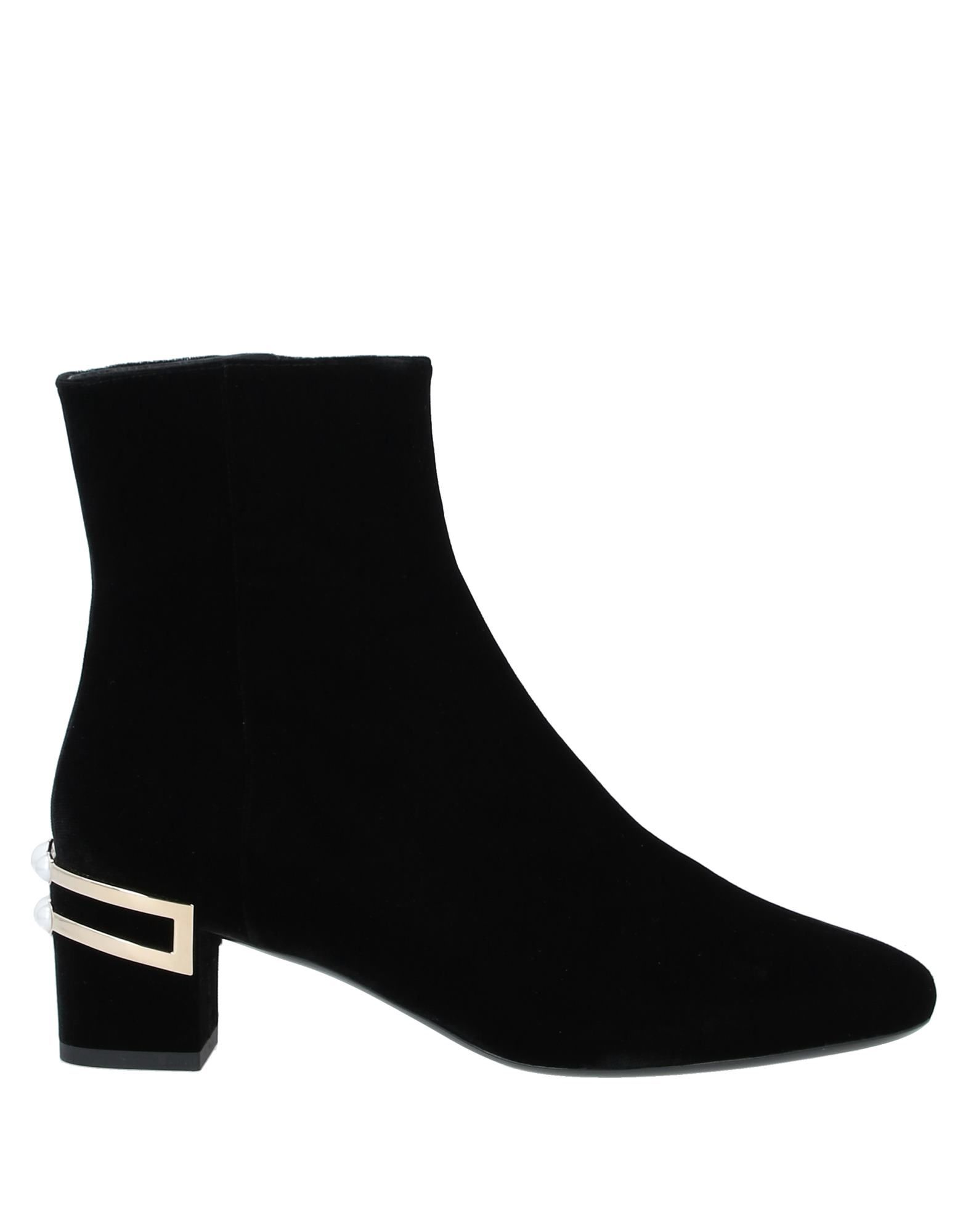 ROGER VIVIER Ankle boots. metal applications, contrasting applications, solid color, zipper closure, narrow toeline, square heel, covered heel, leather lining, leather sole, contains non-textile parts of animal origin. Textile fibers