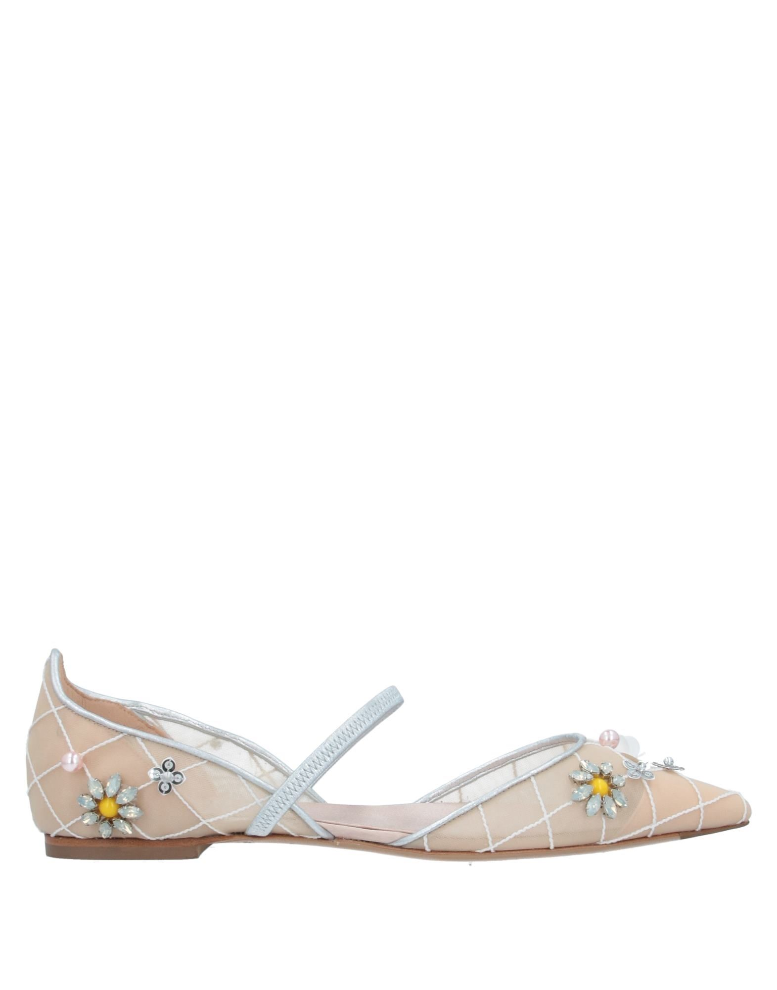ROGER VIVIER Ballet flats. sequins, contrasting applications, solid color, narrow toeline, flat, fabric inner, leather sole, elasticized gores, contains non-textile parts of animal origin. Textile fibers, Soft Leather