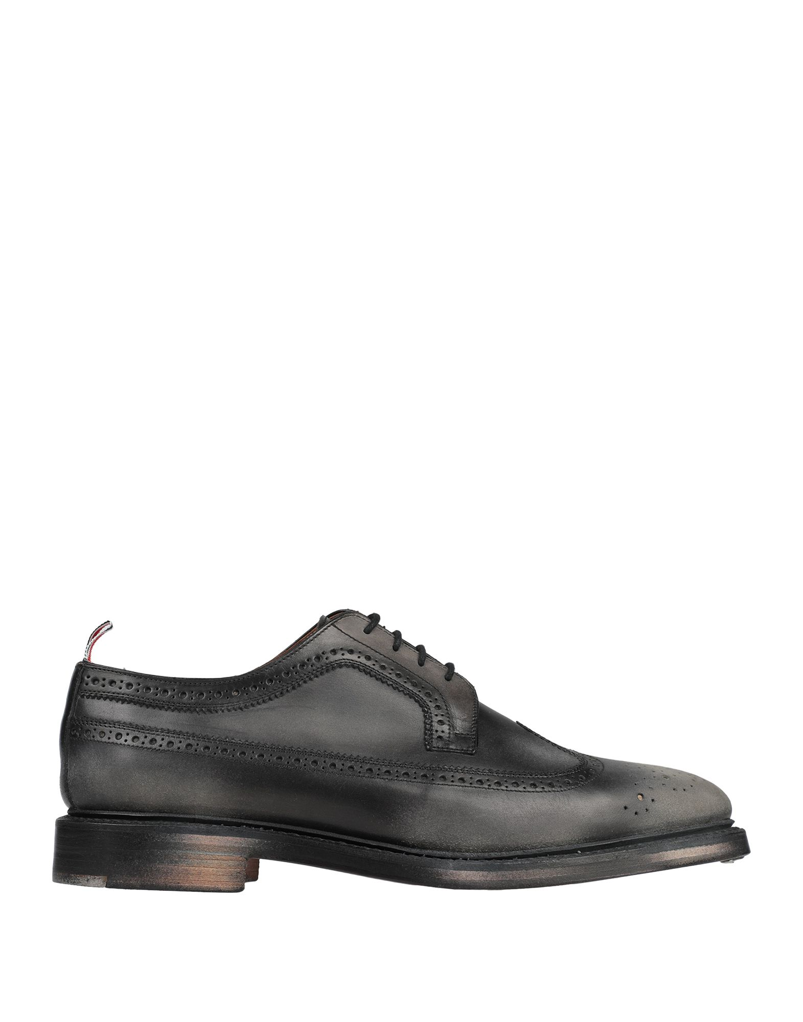 THOM BROWNE Lace-up shoes. logo, solid color, round toeline, square heel, leather lining, leather sole, contains non-textile parts of animal origin. Soft Leather