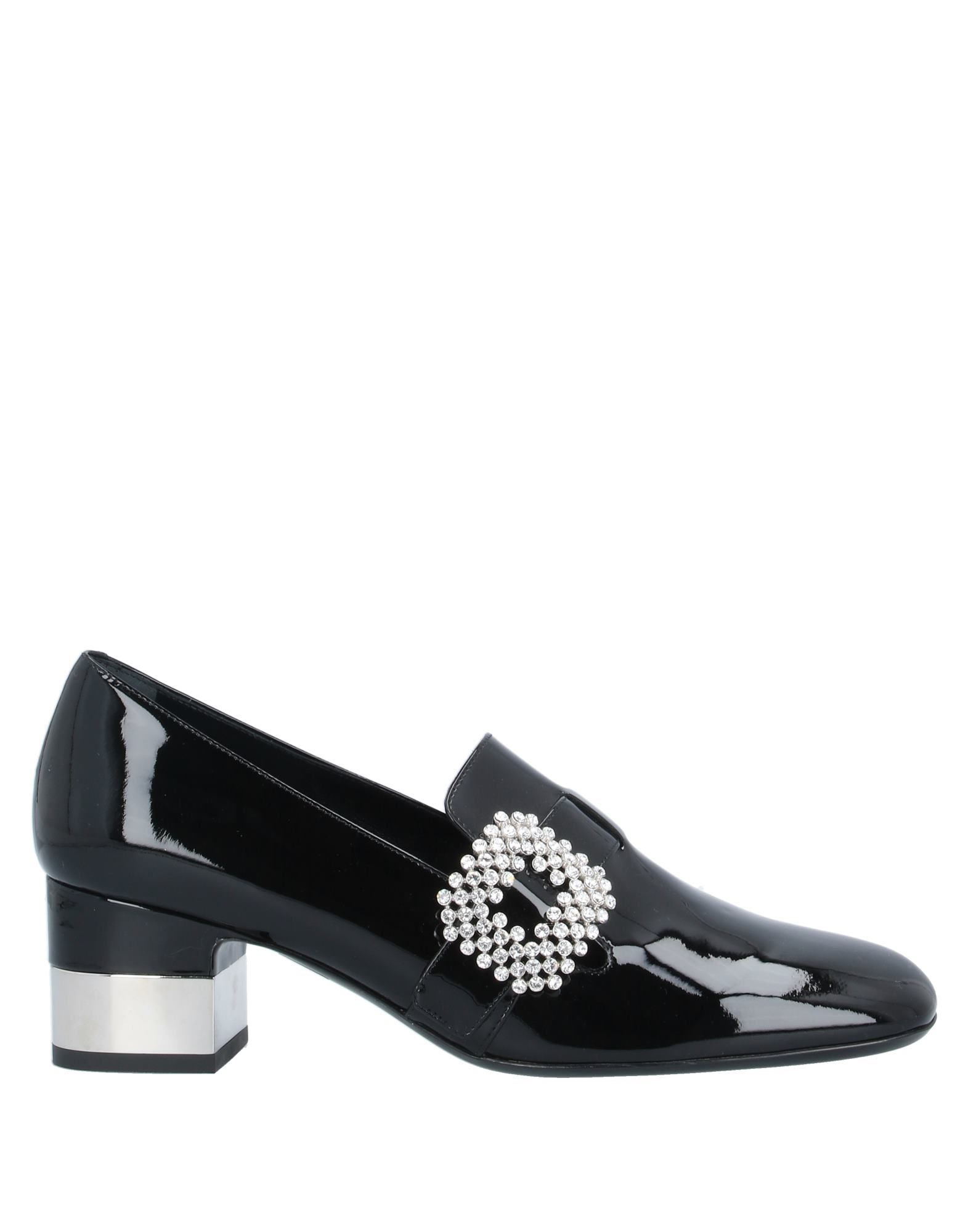 ROGER VIVIER Loafers. varnished effect, rhinestones, solid color, square toeline, square heel, leather lining, leather sole, contains non-textile parts of animal origin. Calfskin
