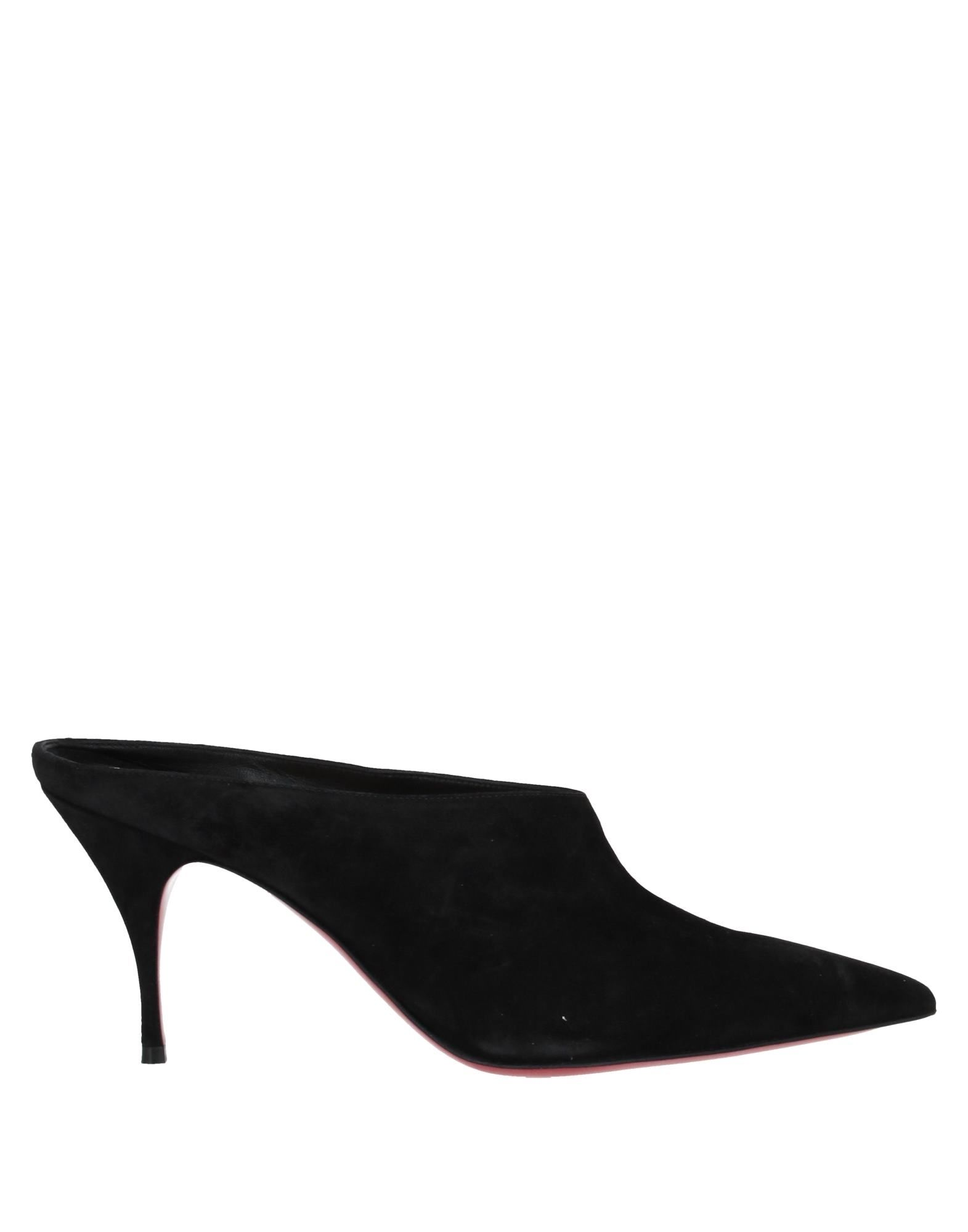 CHRISTIAN LOUBOUTIN Mules. suede effect, no appliqués, solid color, narrow toeline, spike heel, covered heel, leather lining, leather sole, contains non-textile parts of animal origin, small sized. Soft Leather