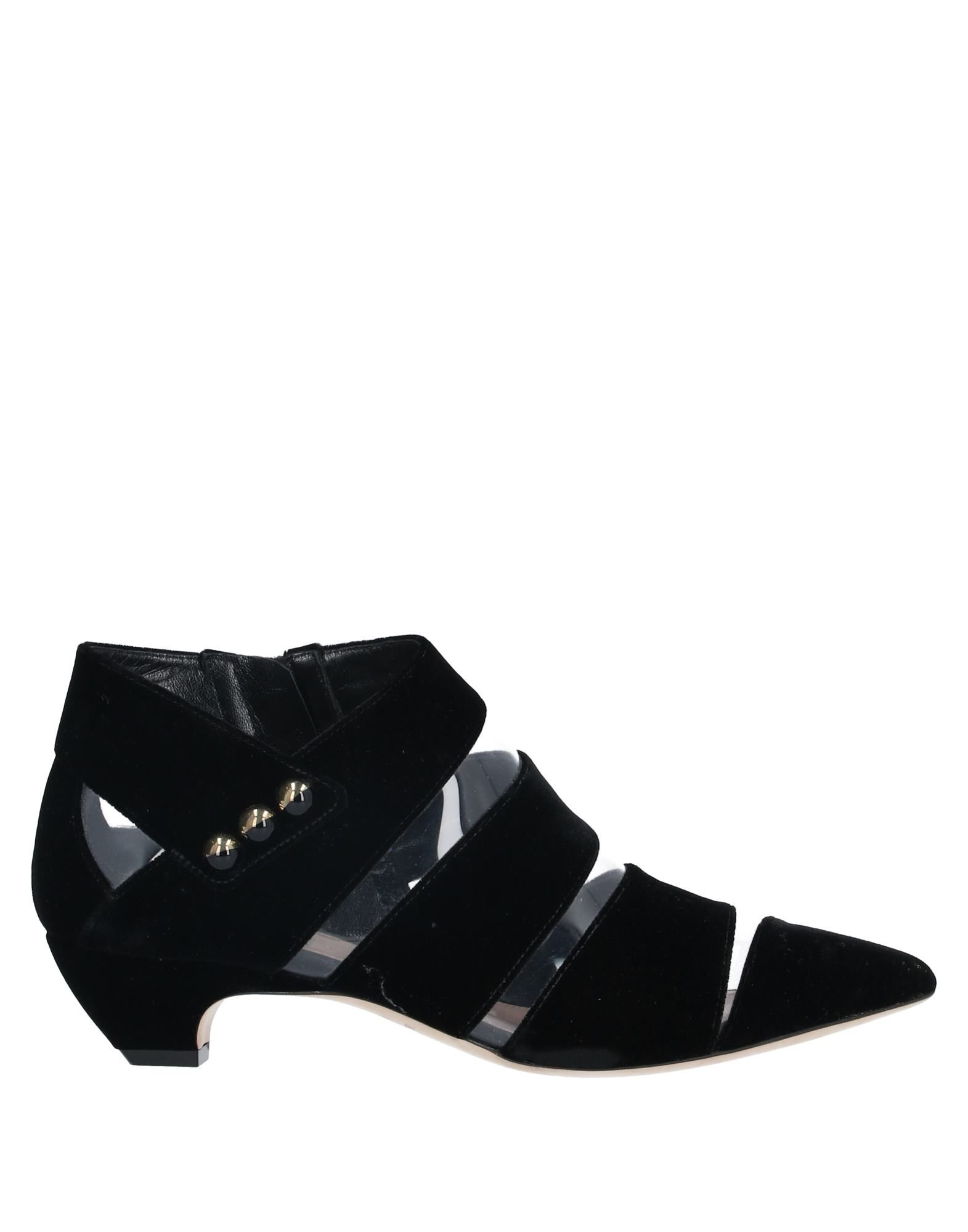 GIORGIO ARMANI Booties. velvet, studs, solid color, zipper closure, narrow toeline, cone heel, covered heel, leather lining, leather/rubber sole, contains non-textile parts of animal origin. 65% Viscose, 35% Cupro, PVC - Polyvinyl chloride