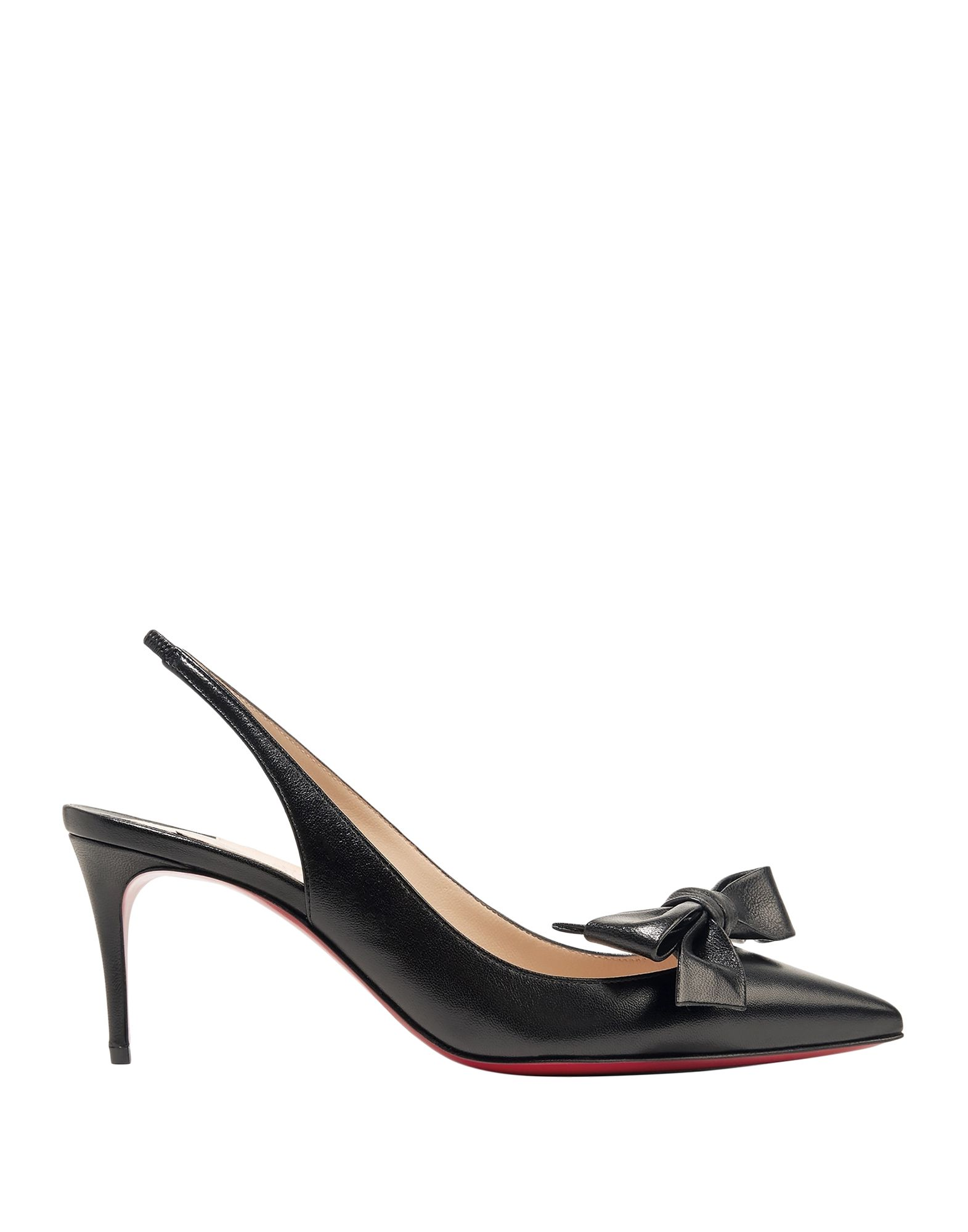 CHRISTIAN LOUBOUTIN Pumps. bow-detailed, solid color, narrow toeline, leather lining, spike heel, leather sole, contains non-textile parts of animal origin, small sized. Soft Leather
