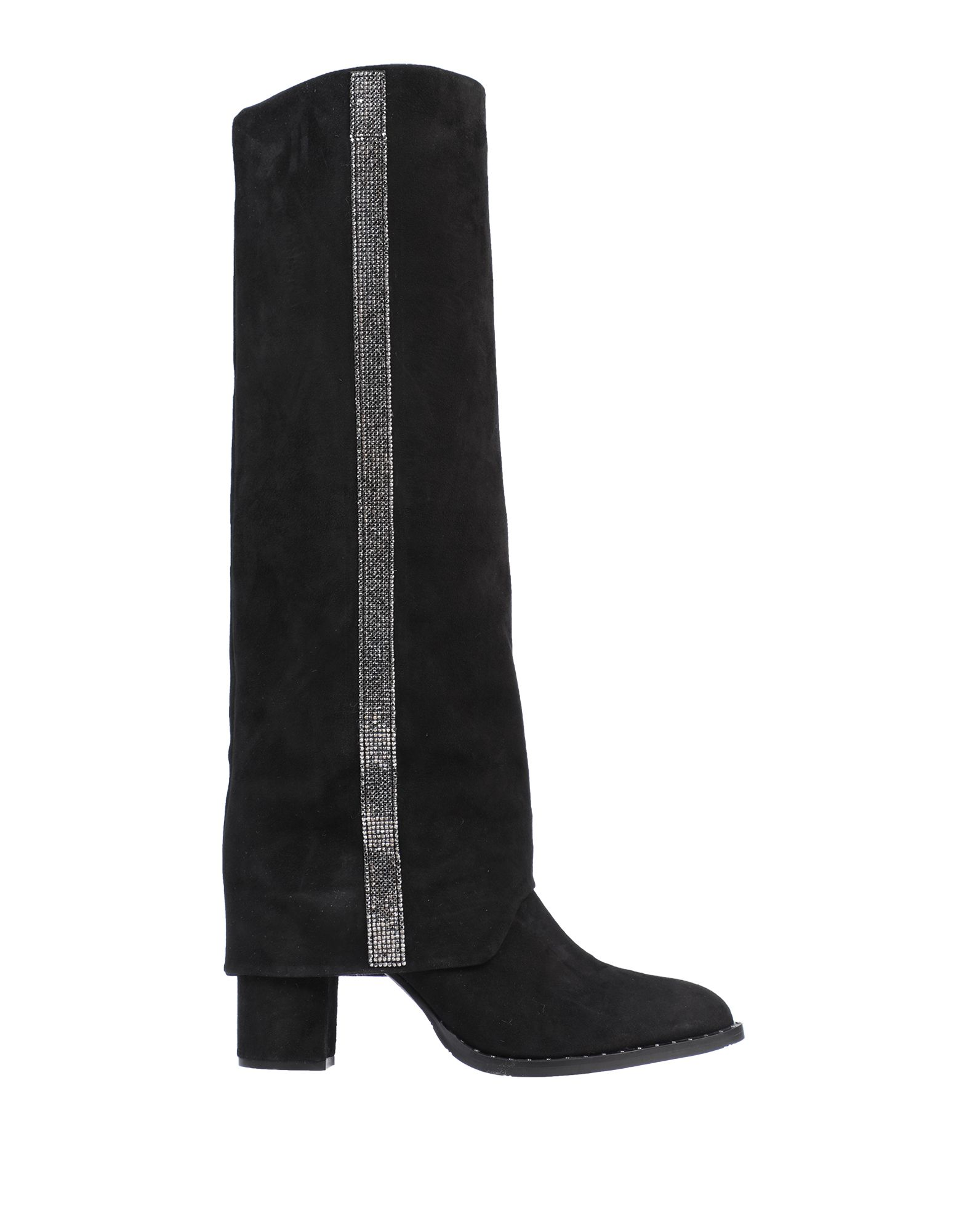 ELEVENTY Boots. leather, suede effect, rhinestones, solid color, round toeline, square heel, leather lining, rubber cleated sole, contains non-textile parts of animal origin. Soft Leather