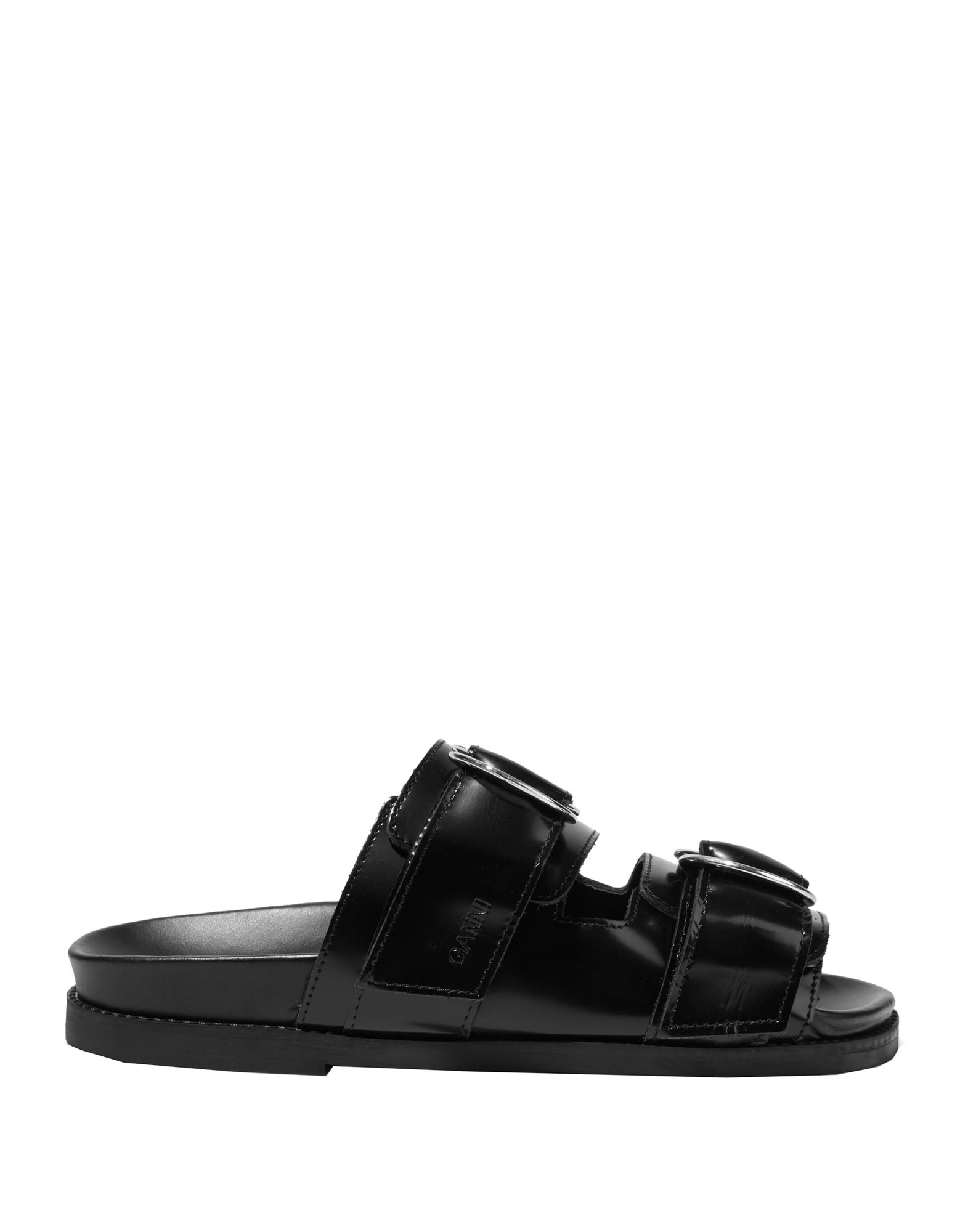 GANNI Sandals. polished leather, no appliqués, solid color, buckle fastening, round toeline, flat, leather lining, rubber sole, contains non-textile parts of animal origin, small sized. Soft Leather