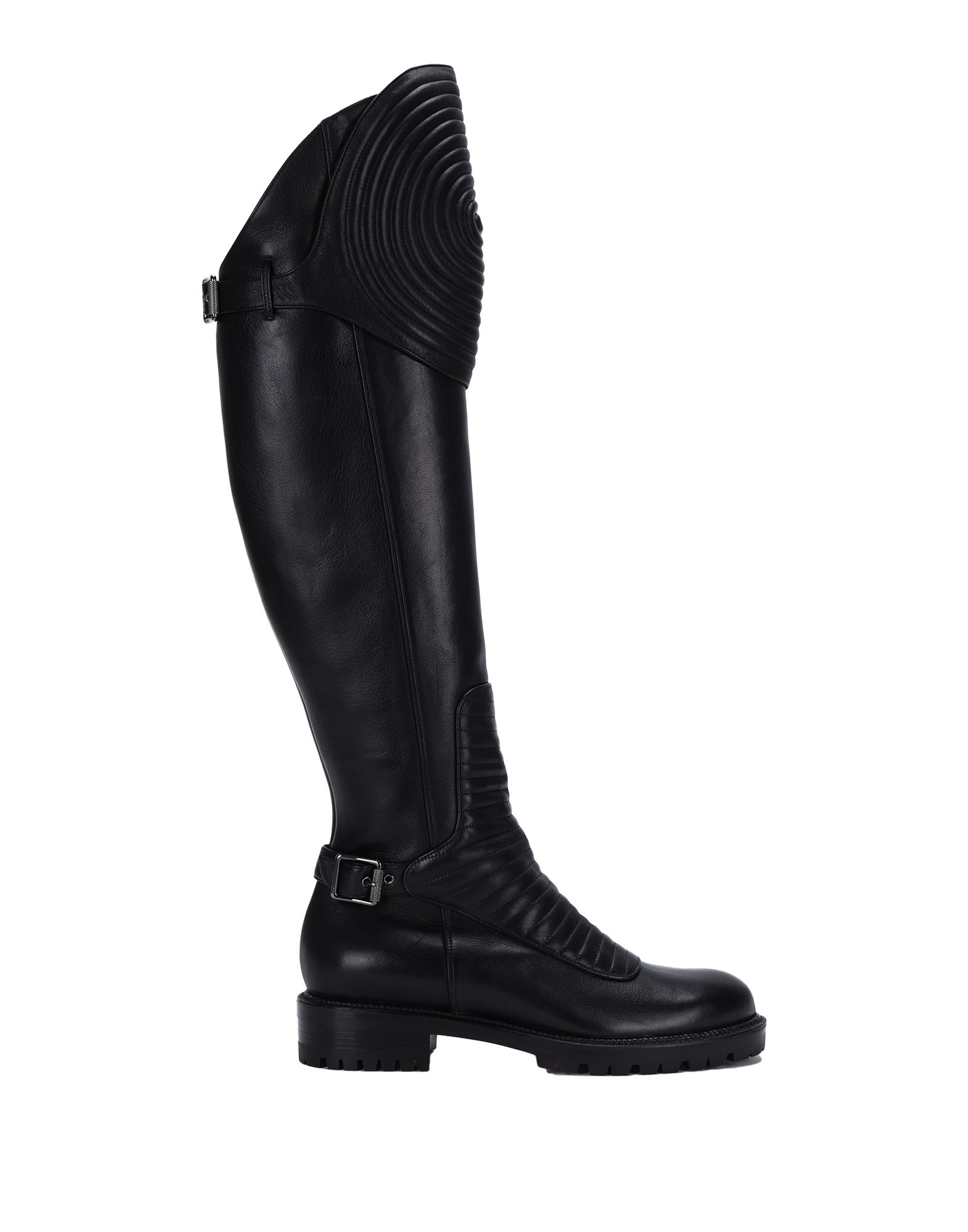 CHRISTIAN LOUBOUTIN Boots. solid color, round toeline, leather lining, lug sole, square heel, buckle, zipper closure, contains non-textile parts of animal origin, small sized. 100% Calfskin