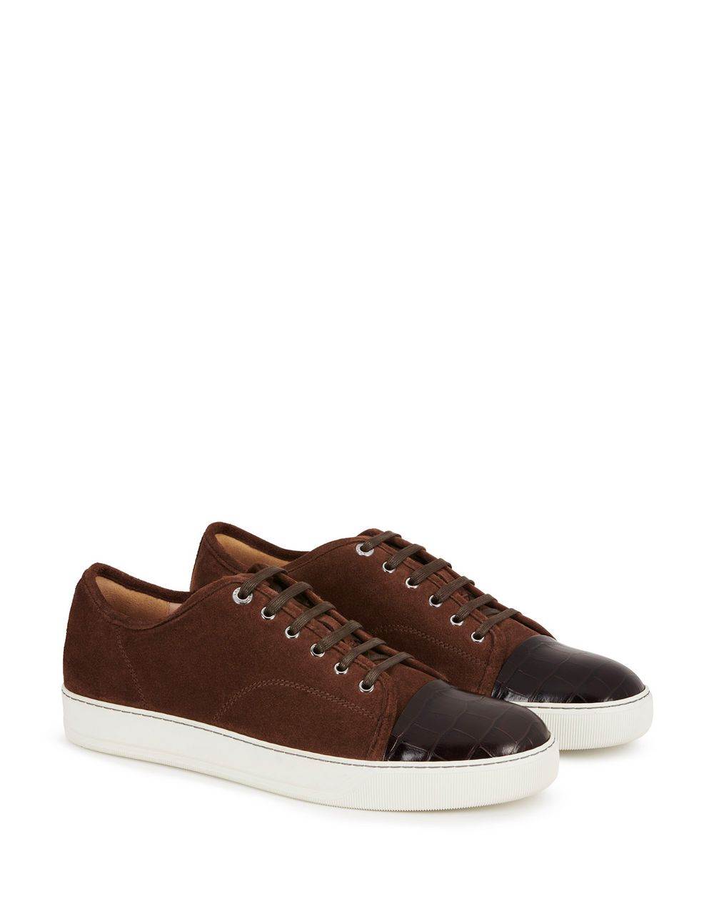 DBB1 TRAINERS IN SUEDE AND CROCODILE-EMBOSSED CALFSKIN LEATHER - Lanvin