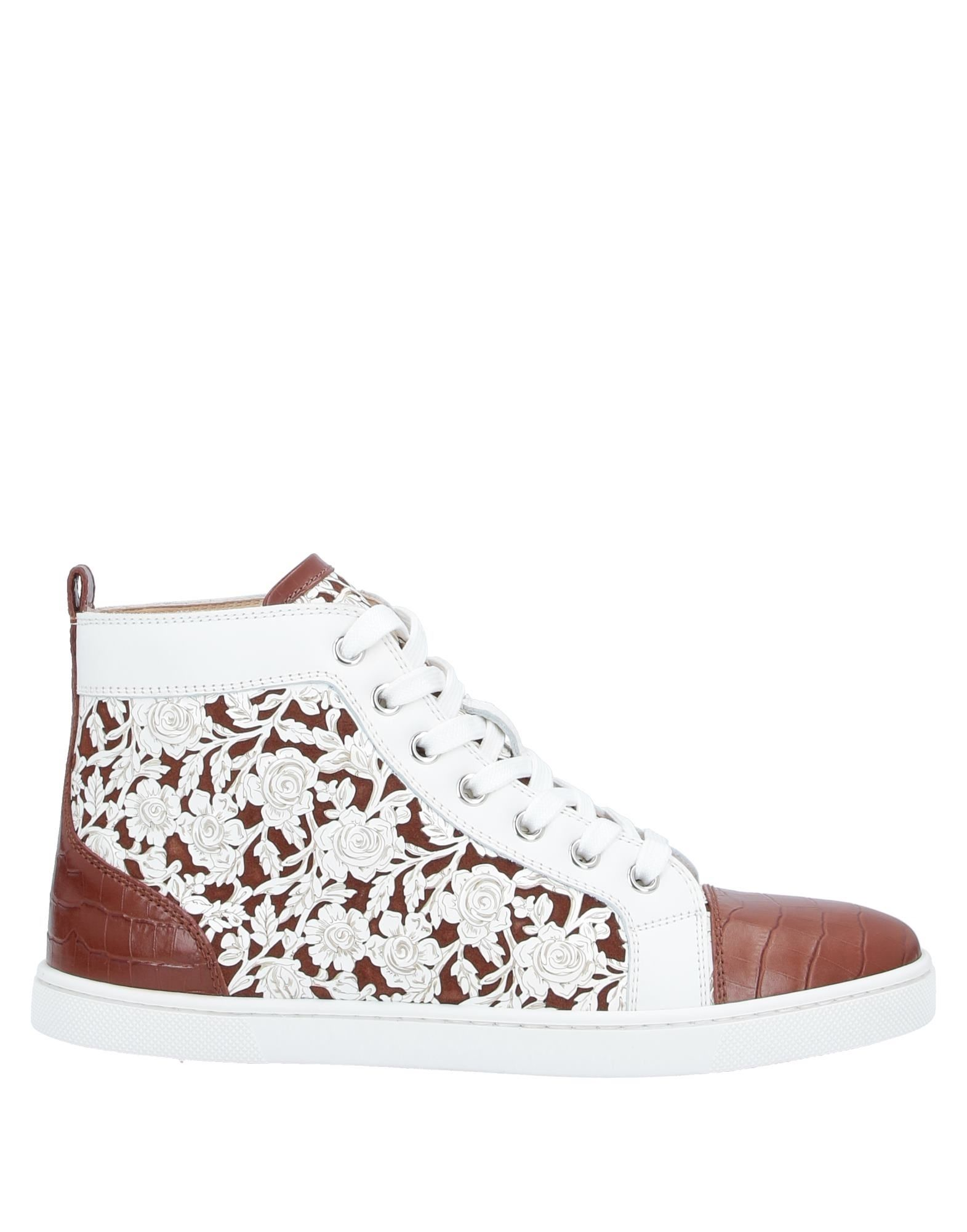 CHRISTIAN LOUBOUTIN Sneakers. leather, crocodile print, metal applications, logo, floral design, laces, round toeline, flat, leather lining, rubber cleated sole, contains non-textile parts of animal origin, small sized. Soft Leather