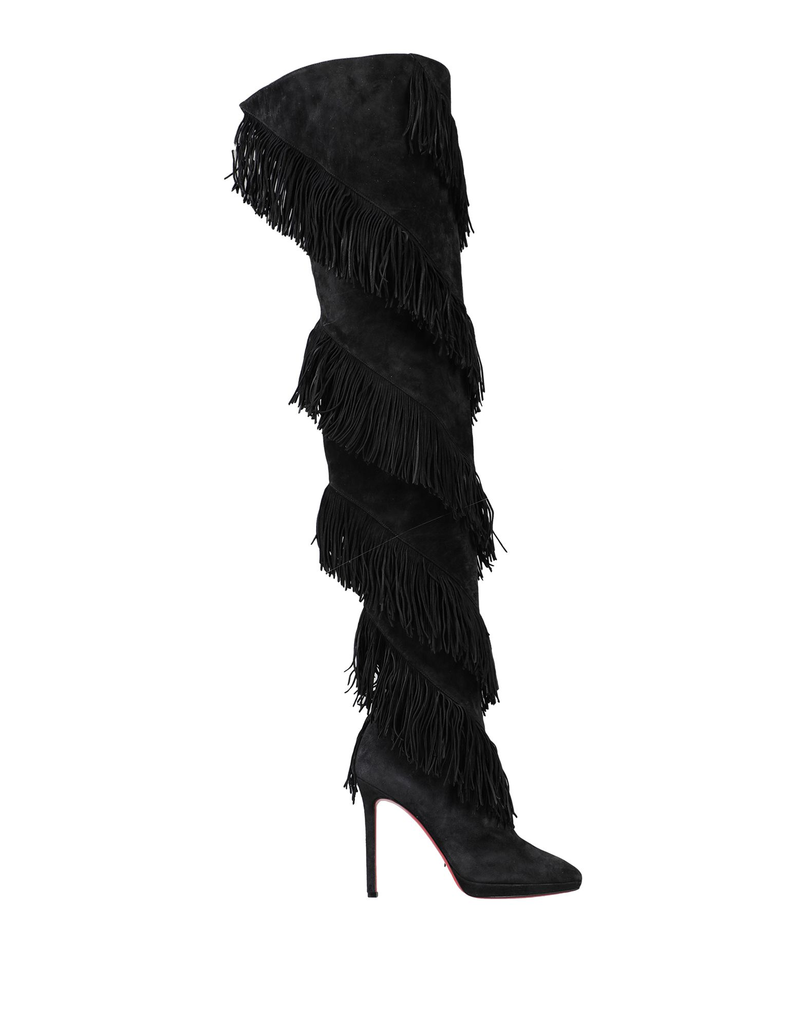 CHRISTIAN LOUBOUTIN Boots. leather, suede effect, fringed, solid color, zipper closure, narrow toeline, stiletto heel, covered heel, leather lining, leather sole, contains non-textile parts of animal origin, small sized. Soft Leather