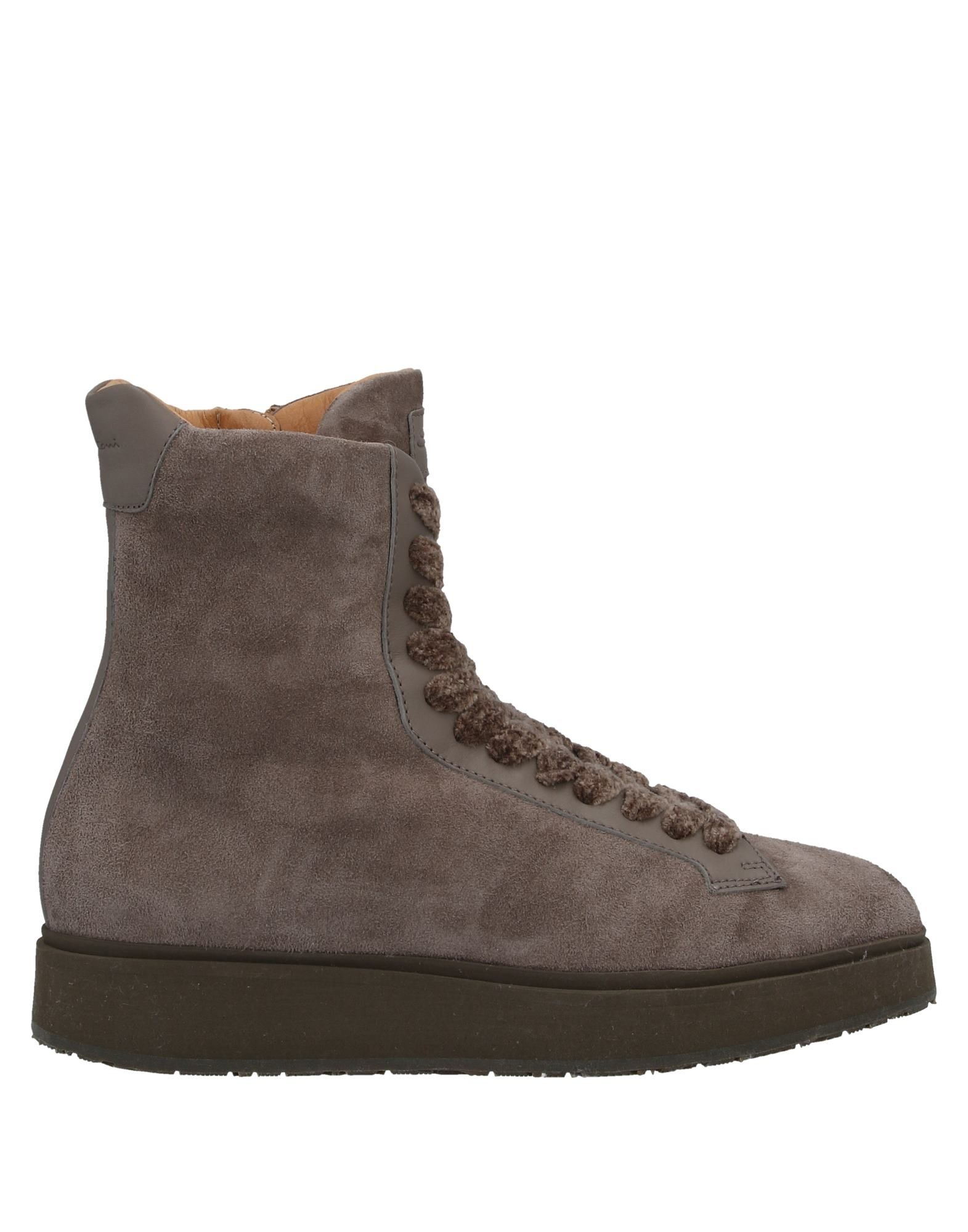 SANTONI Ankle boots. leather, suede effect, logo, solid color, round toeline, zipper closure, wedge heel, leather lining, rubber cleated sole, contains non-textile parts of animal origin, large sized. Soft Leather