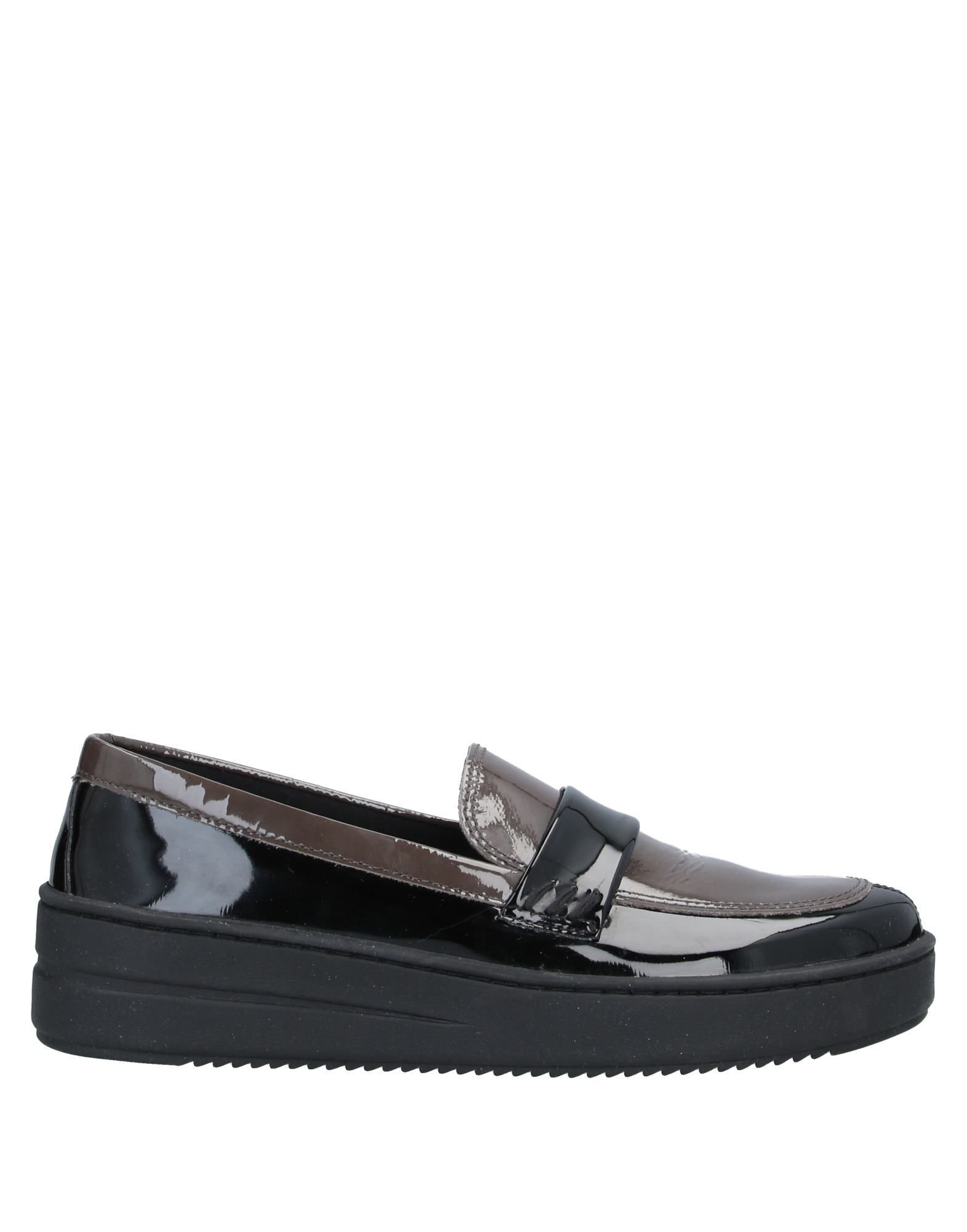 THE FLEXX Loafers. leather, varnished effect, no appliqués, two-tone, round toeline, wedge heel, rubber wedge, fabric inner, rubber cleated sole, contains non-textile parts of animal origin. Soft Leather, Polyurethane