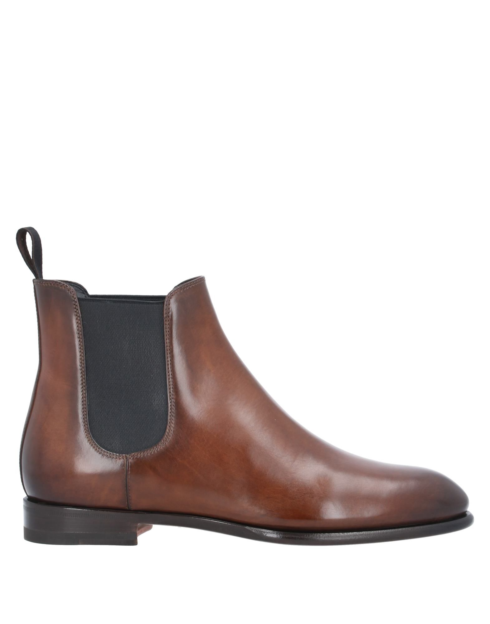 SANTONI Ankle boots. leather, no appliqués, solid color, elasticized gores, round toeline, square heel, leather lining, leather sole, contains non-textile parts of animal origin, large sized. Soft Leather