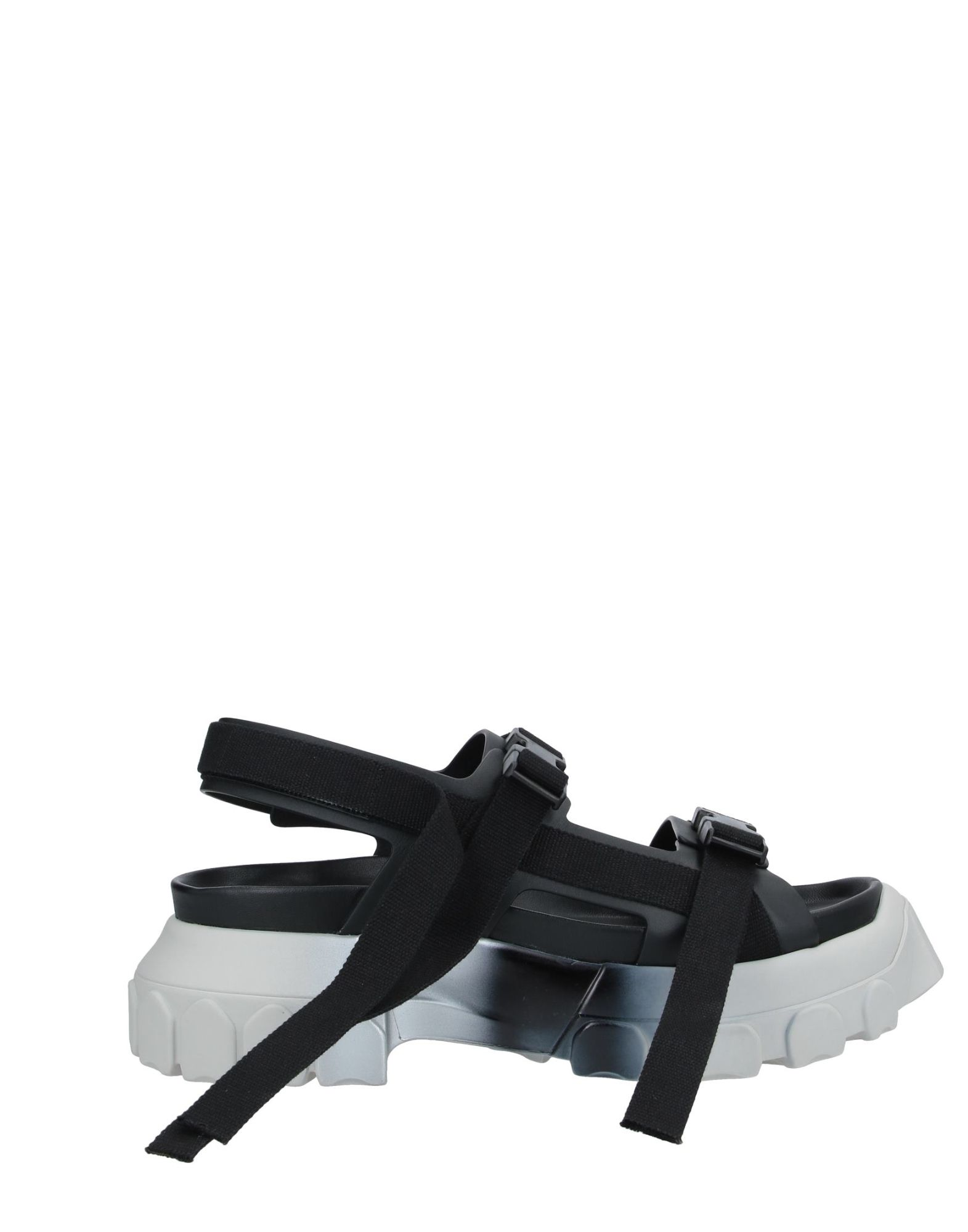 RICK OWENS Sandals. canvas, no appliqués, solid color, buckle fastening, round toeline, square heel, rubber heel, leather lining, rubber sole, contains non-textile parts of animal origin. Soft Leather, Textile fibers