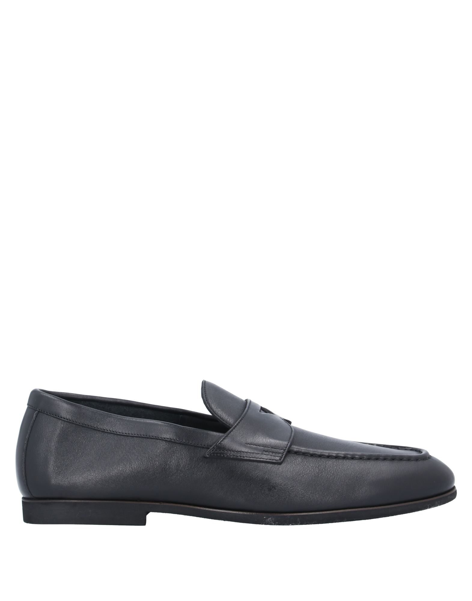 SANTONI Loafers. no appliqués, solid color, round toeline, flat, leather lining, rubber sole, contains non-textile parts of animal origin, large sized. Soft Leather