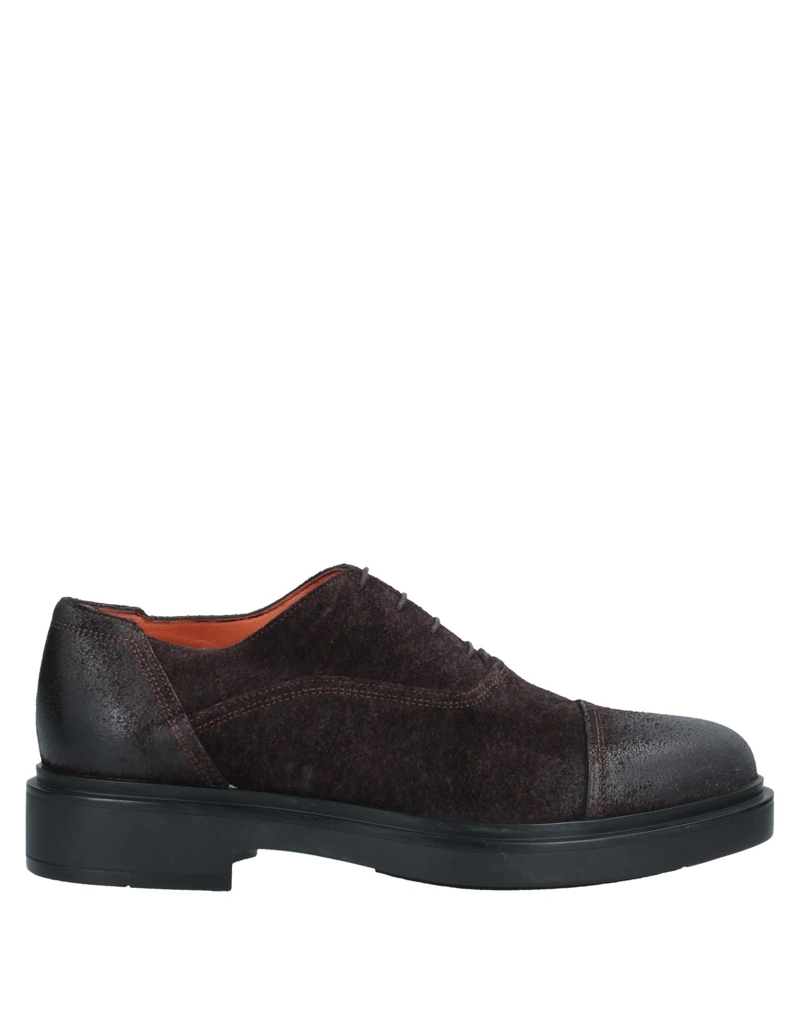 SANTONI Lace-up shoes. leather, split leather, suede effect, no appliqués, solid color, round toeline, square heel, leather lining, rubber cleated sole, contains non-textile parts of animal origin, large sized. Soft Leather