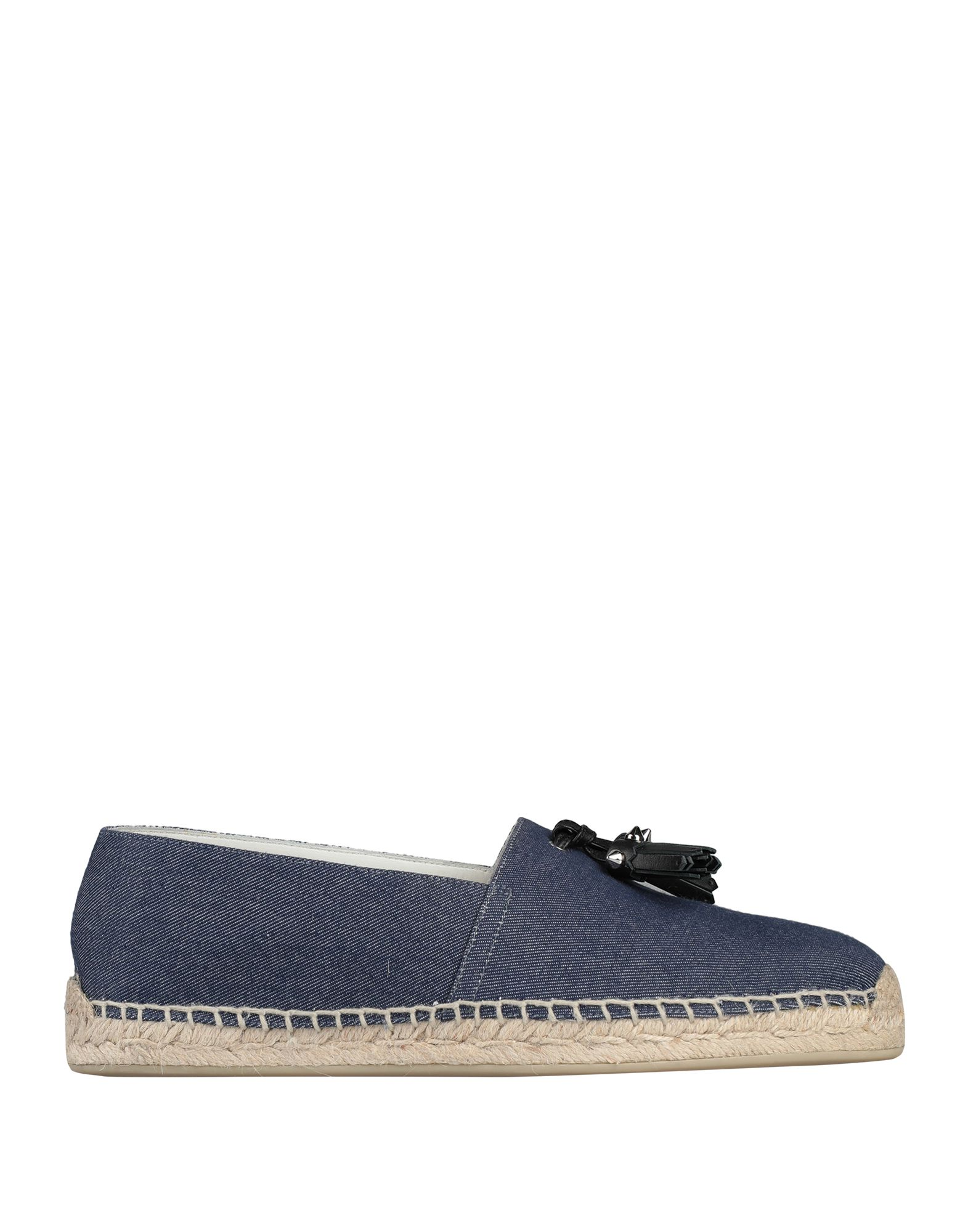 CHRISTIAN LOUBOUTIN Espadrilles. leather, denim, tassels, solid color, round toeline, flat, leather lining, rubber cleated sole, contains non-textile parts of animal origin, small sized. Textile fibers, Calfskin