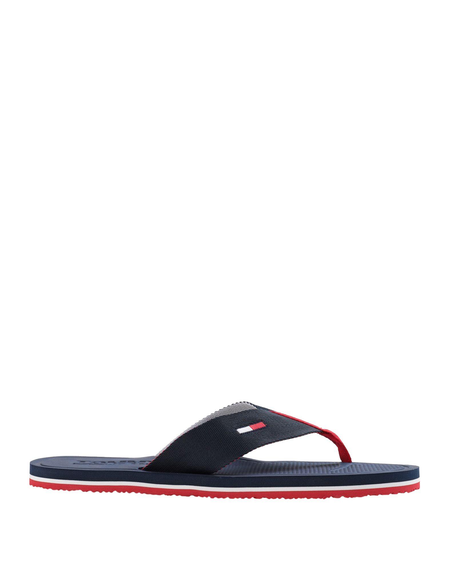 《セール開催中》TOMMY JEANS メンズ トングサンダル ダークブルー 40 紡績繊維 COMFORT FOOTBED BEACH SANDALS